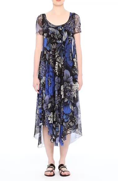 Print Tulle Handkerchief Hem Dress, video thumbnail