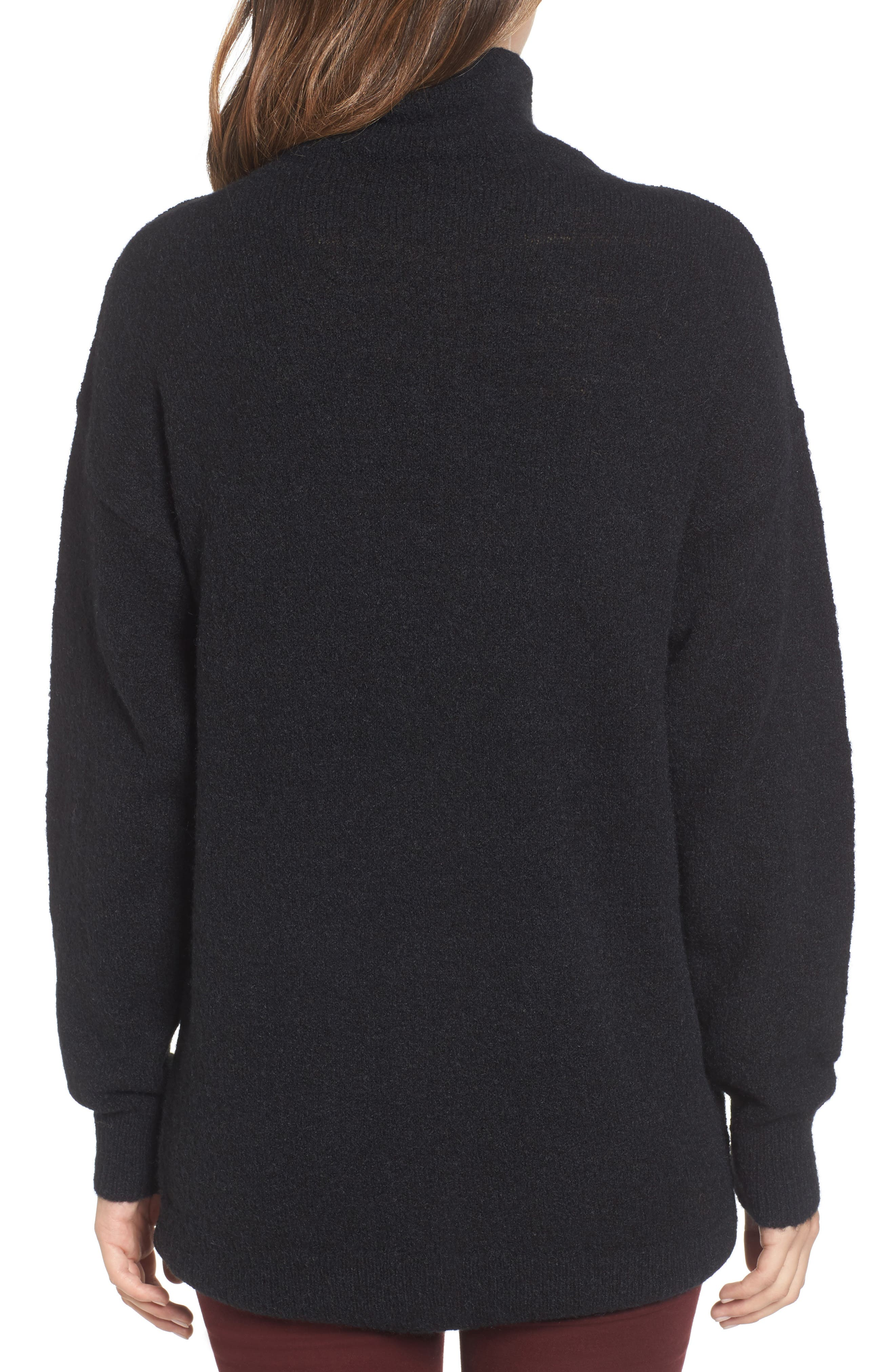 Bouclé Turtleneck Tunic Sweater,                             Alternate thumbnail 2, color,                             001