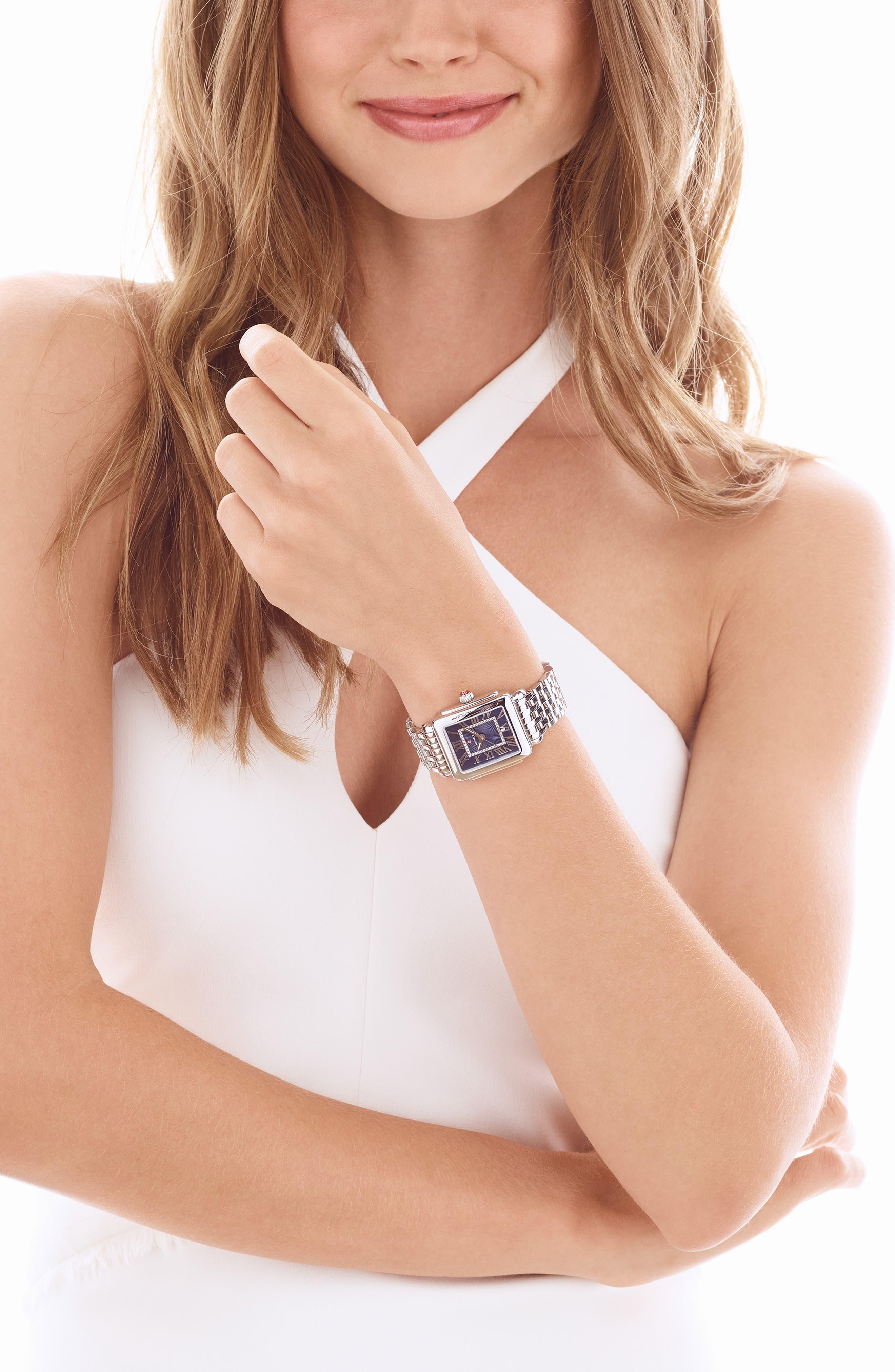 Deco 16 16mm Bracelet Watchband,                             Alternate thumbnail 3, color,                             SILVER