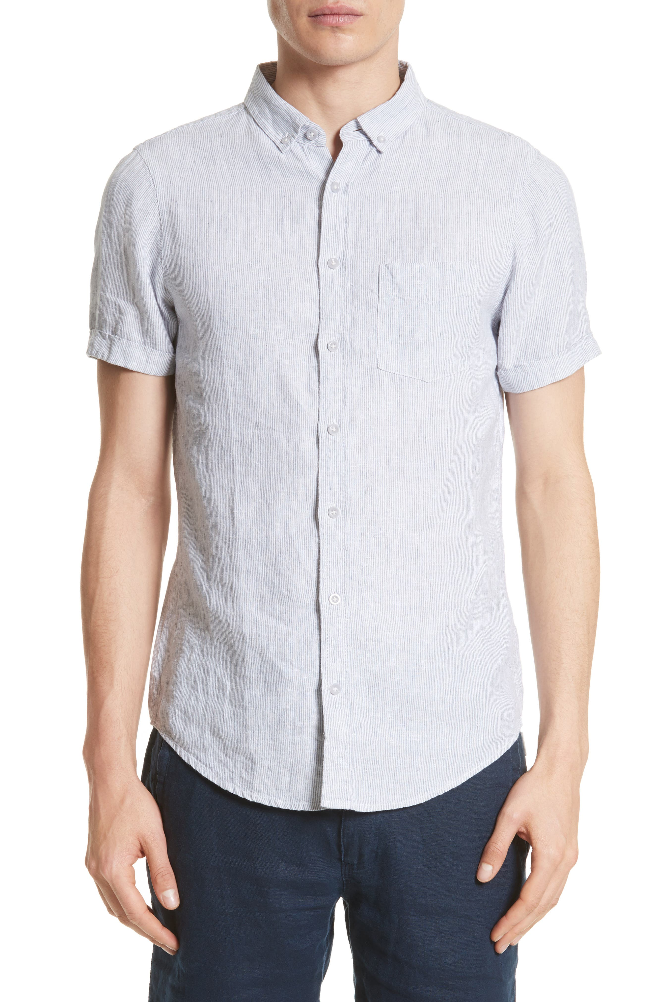 Trim Fit Microstripe Linen Shirt,                         Main,                         color, 100