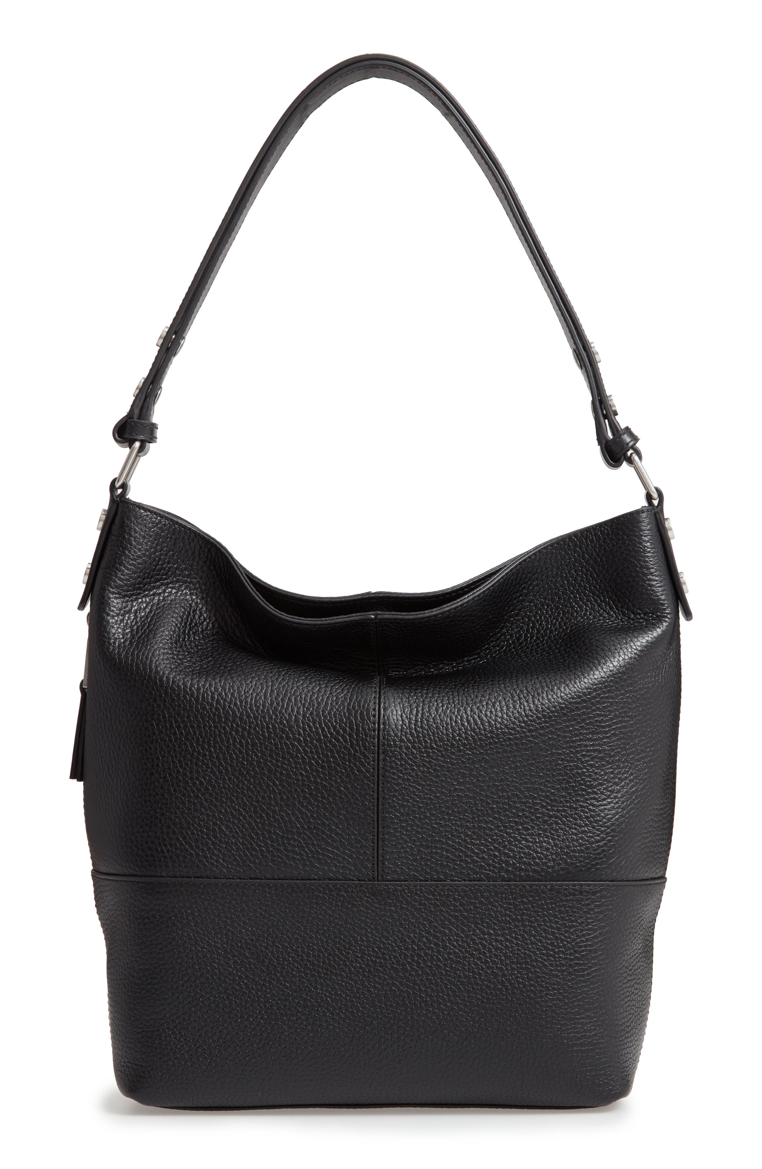 Sydney Leather Convertible Hobo, Main, color, 001
