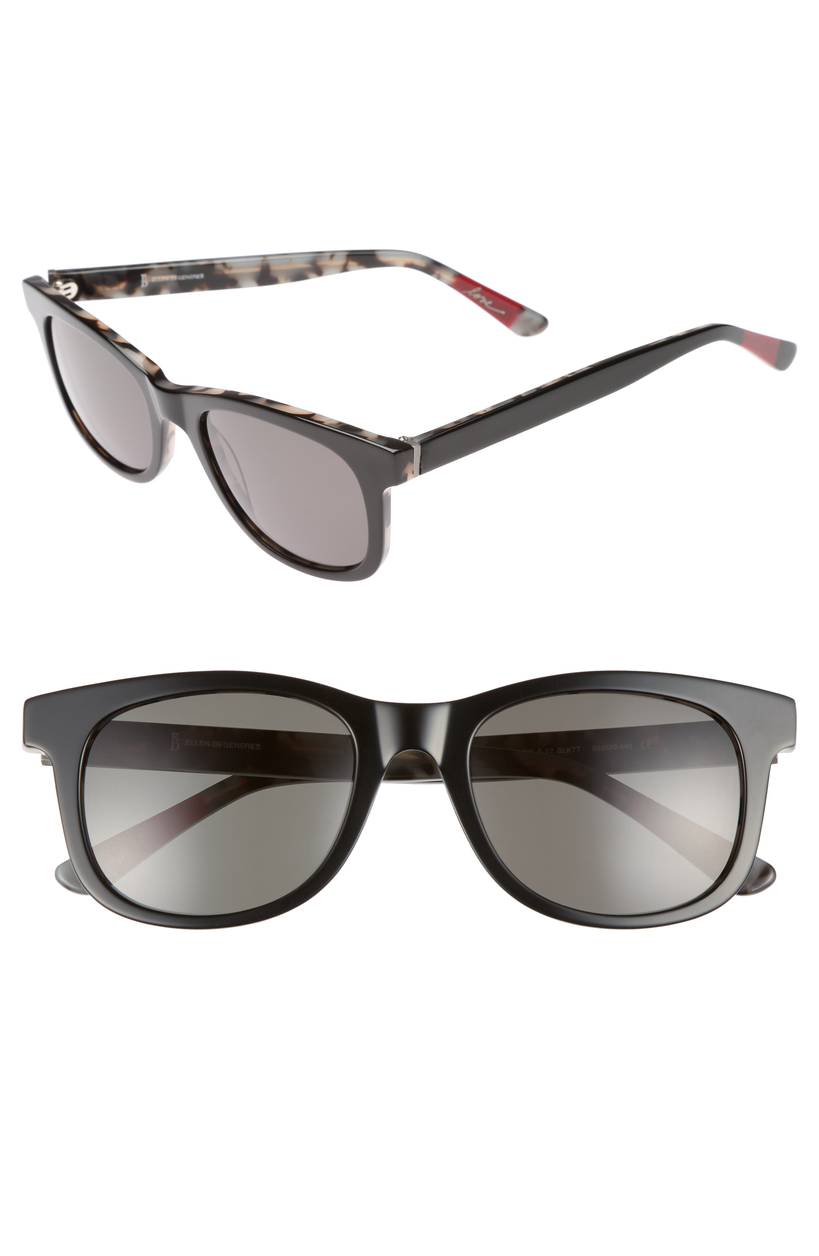 52mm Gradient Sunglasses,                         Main,                         color, BLACK TORTOISE