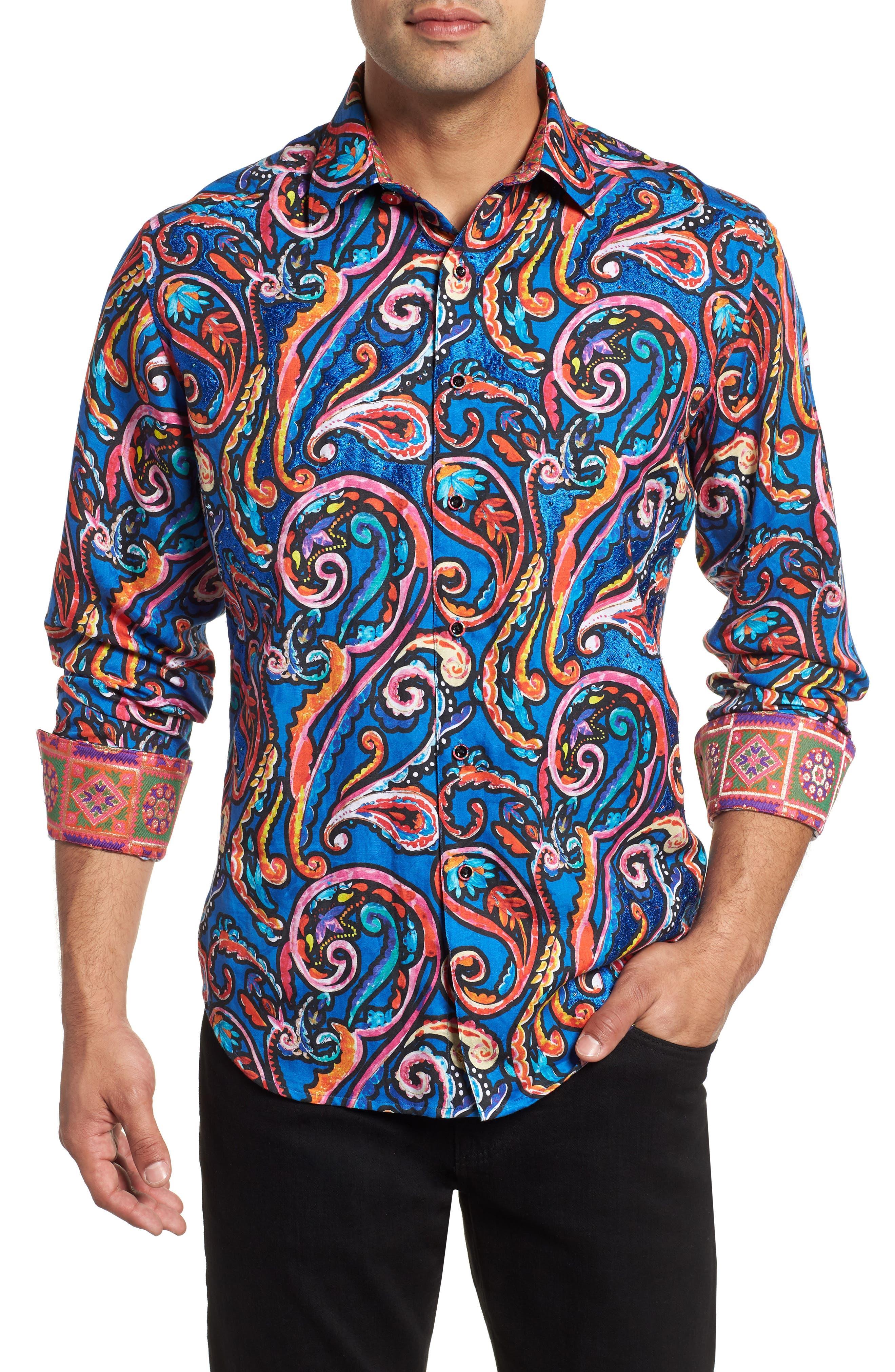 ROBERT GRAHAM,                             The Encourager Limited Edition Linen Blend Sport Shirt,                             Main thumbnail 1, color,                             400