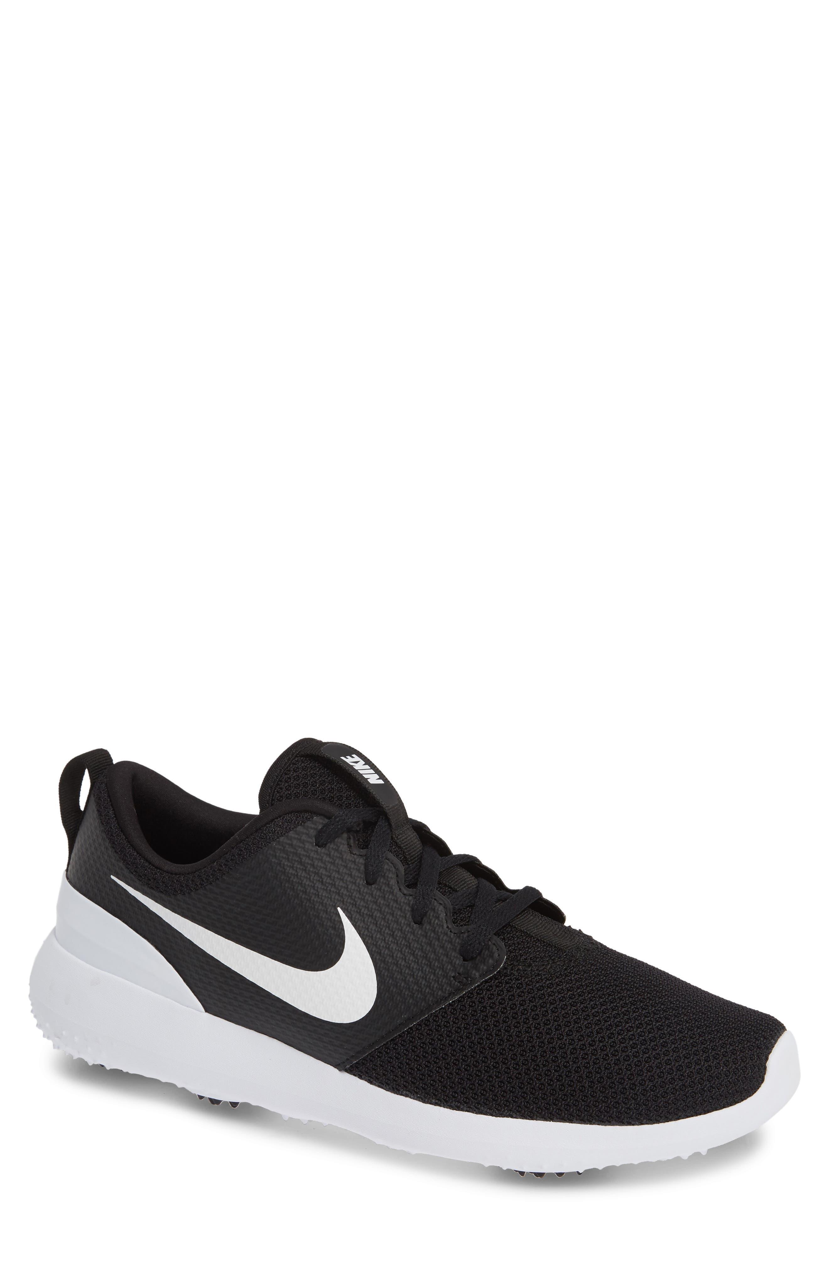 NIKE,                             Roshe Golf Shoe,                             Main thumbnail 1, color,                             BLACK/ WHITE