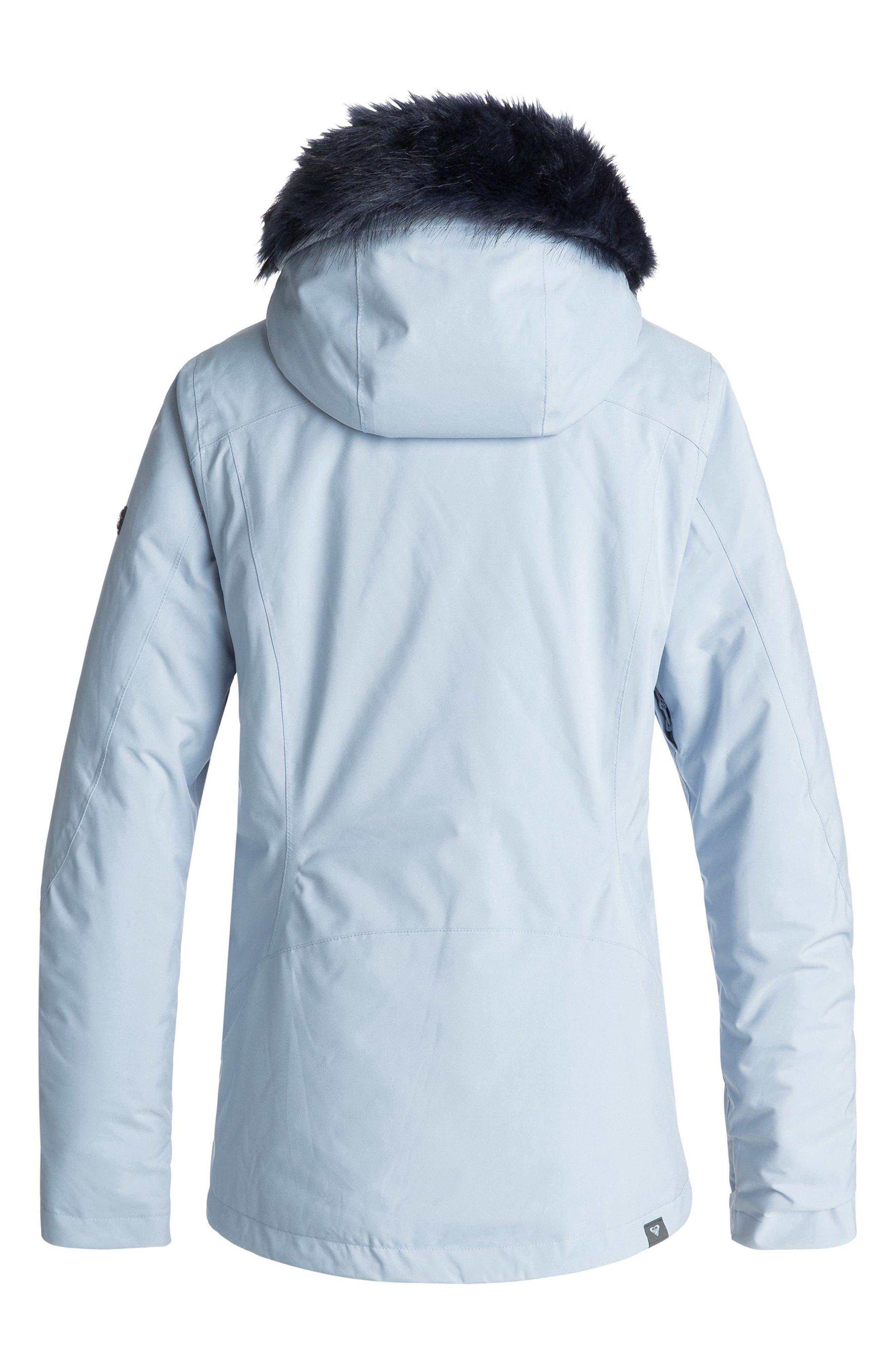 Down the Line Snow Jacket with Faux Fur Trim,                             Alternate thumbnail 3, color,                             POWDER BLUE