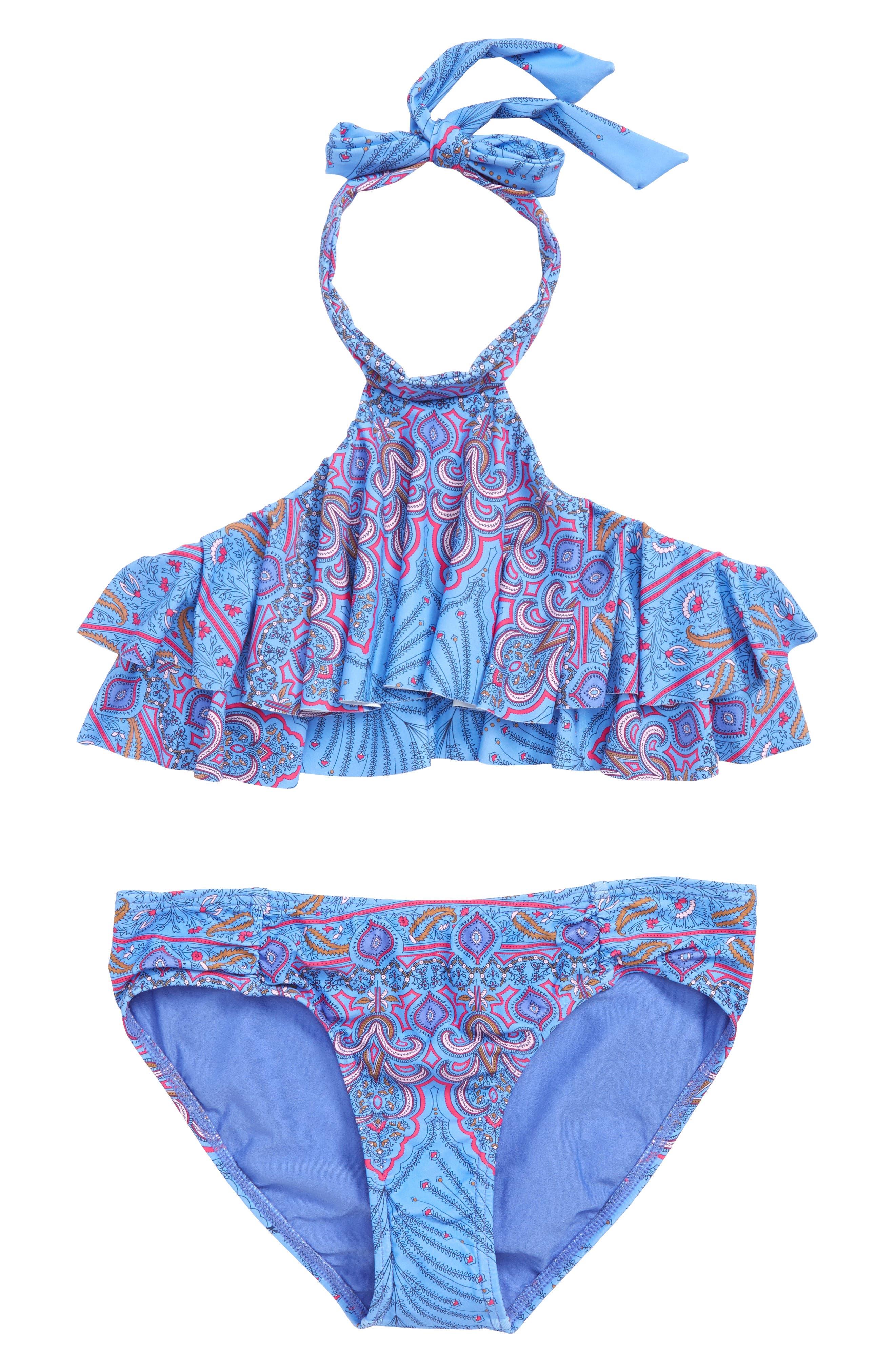 Evie Flounce Two-Piece Swimsuit,                             Main thumbnail 1, color,                             435