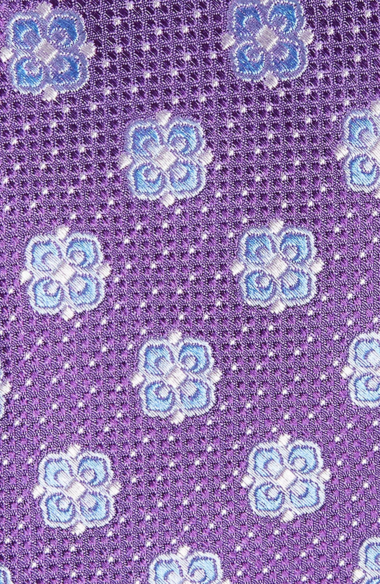 Matteo Floral Silk Tie,                             Alternate thumbnail 2, color,                             PURPLE