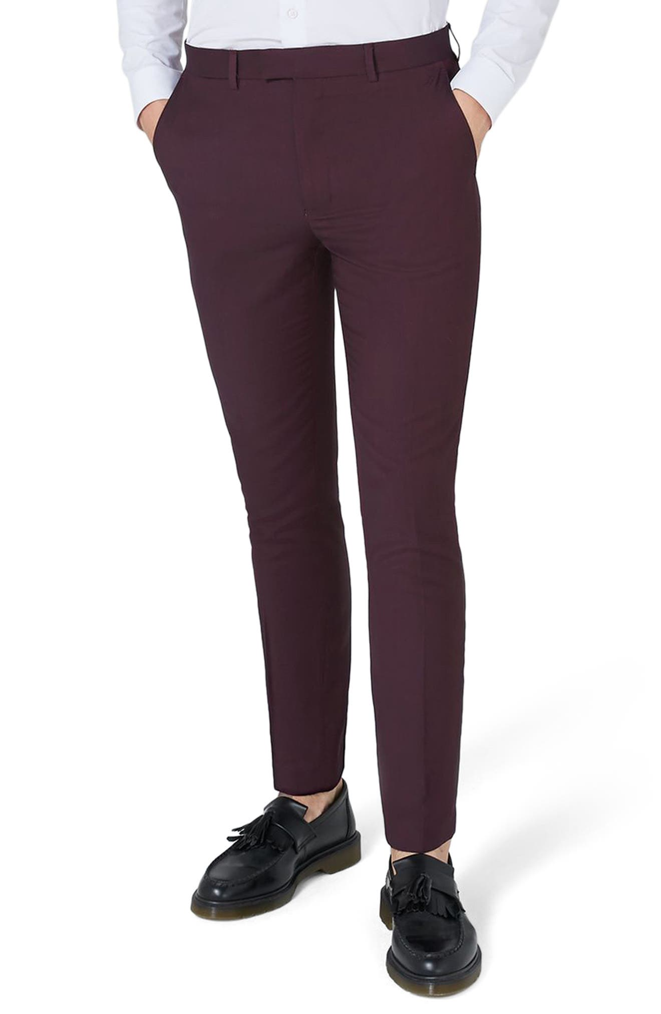 TOPMAN Skinny Fit Plum Suit Trousers, Main, color, 500