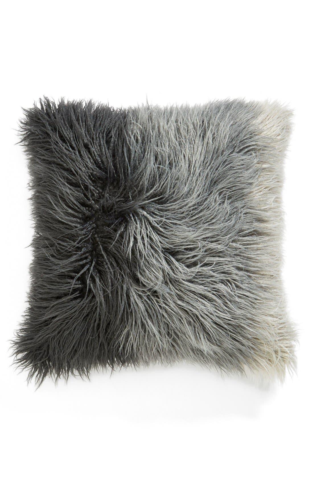 Ombré Faux Fur Flokati Accent Pillow,                         Main,                         color,