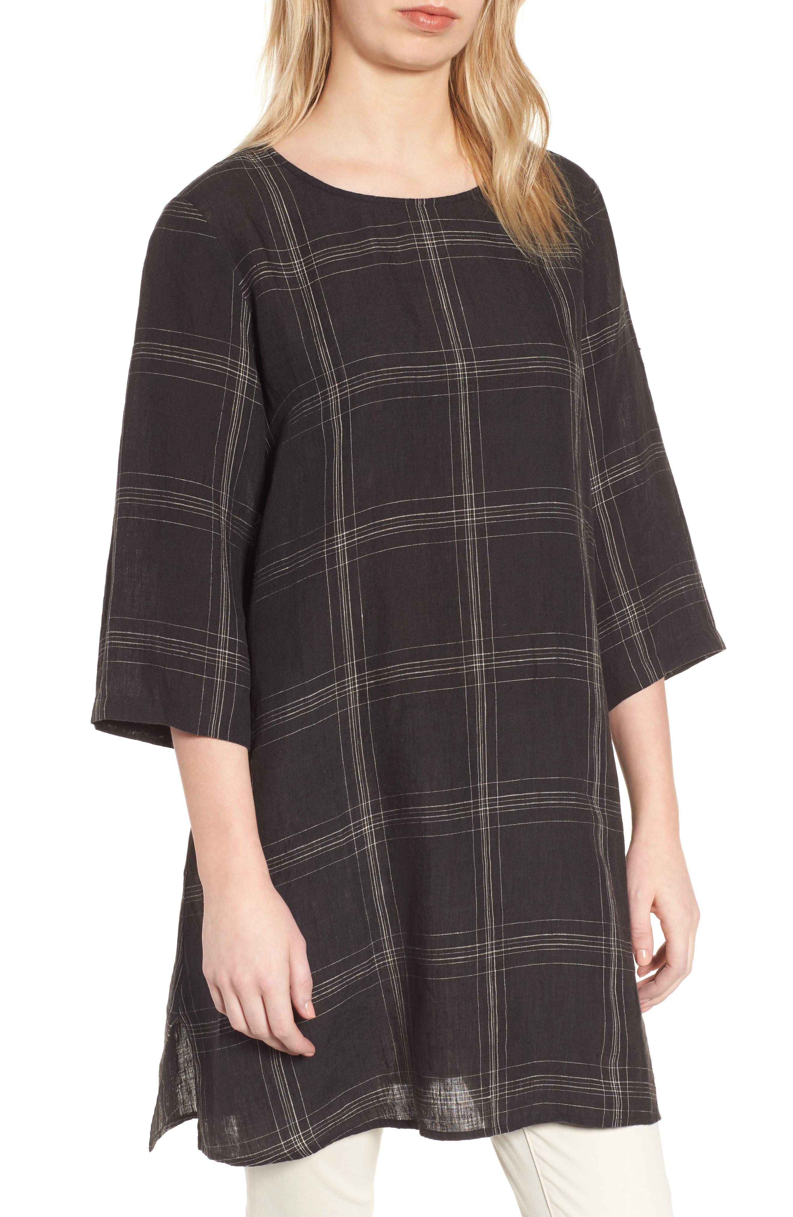 Plaid Organic Linen Tunic,                         Main,                         color, 001