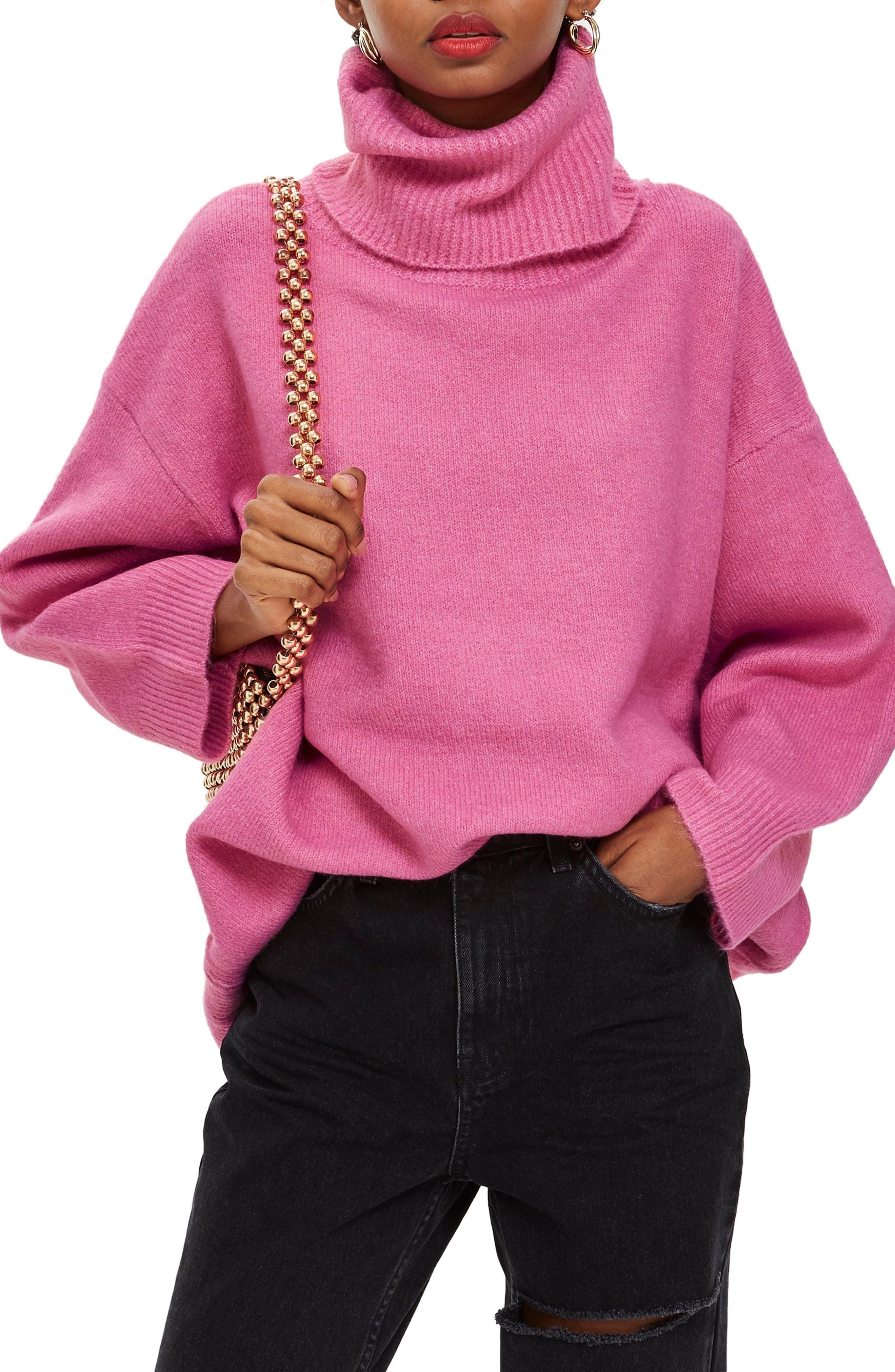 Oversize Turtleneck Sweater,                         Main,                         color, BRIGHT PINK