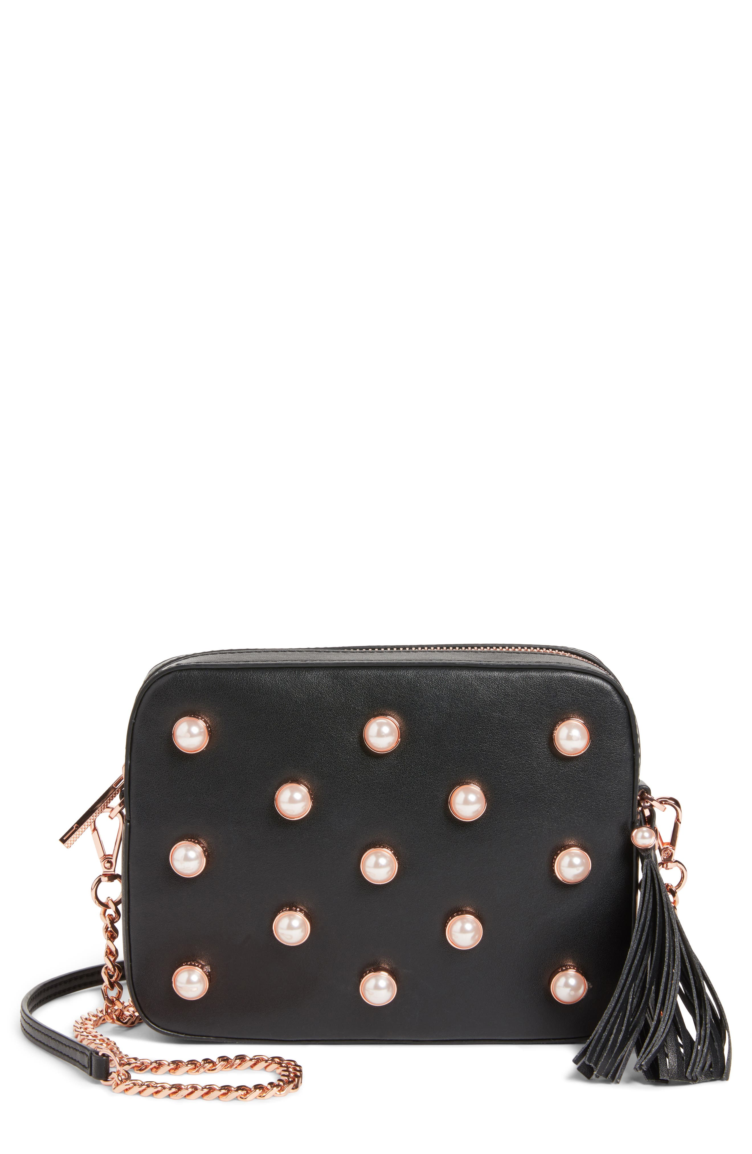 Alessia Imitation Pearl Embellished Leather Crossbody,                             Main thumbnail 1, color,                             001