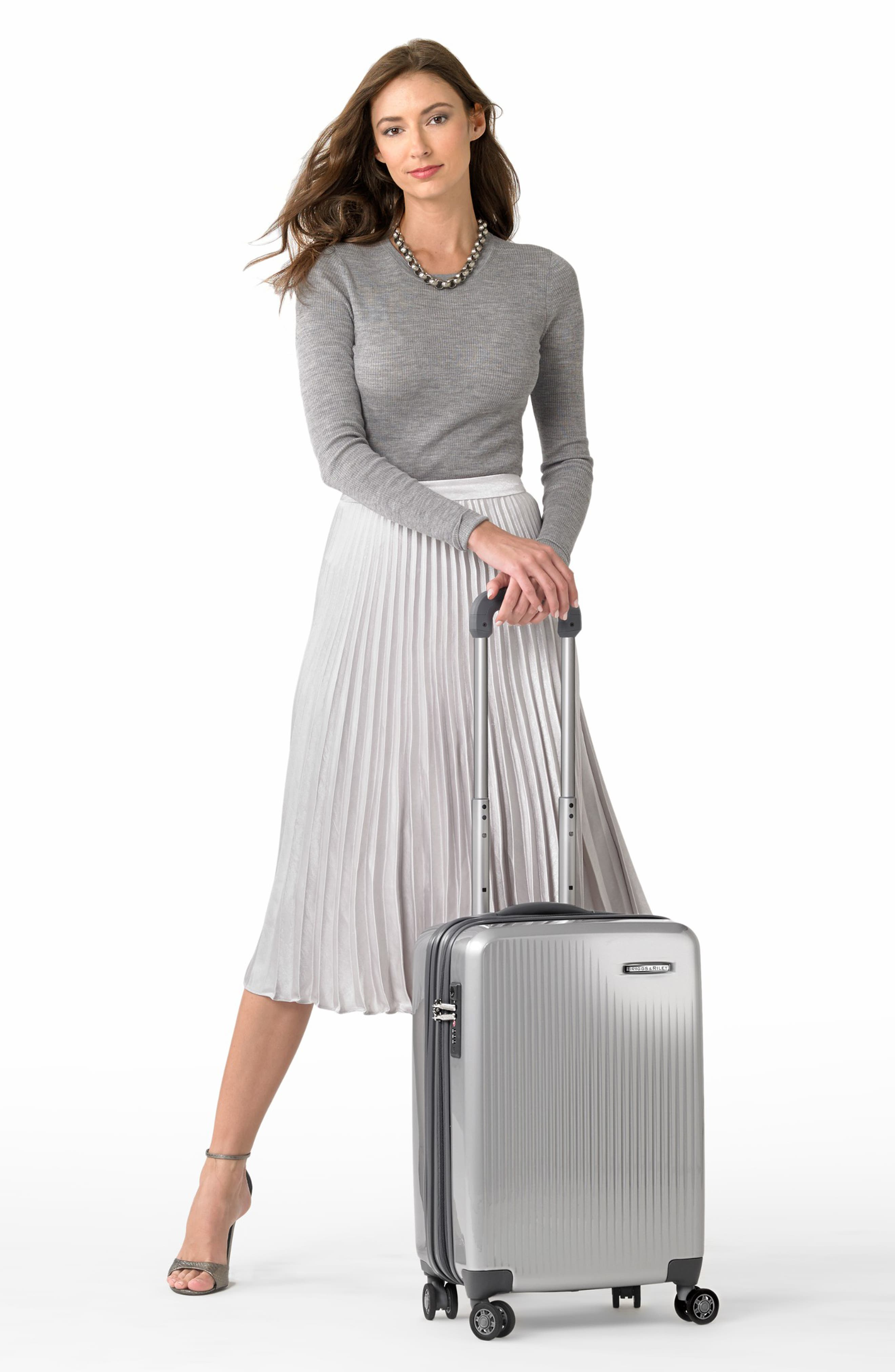 Sympatico Special Edition Expandable 21-Inch Spinner International Carry-On,                             Alternate thumbnail 2, color,                             SILVER