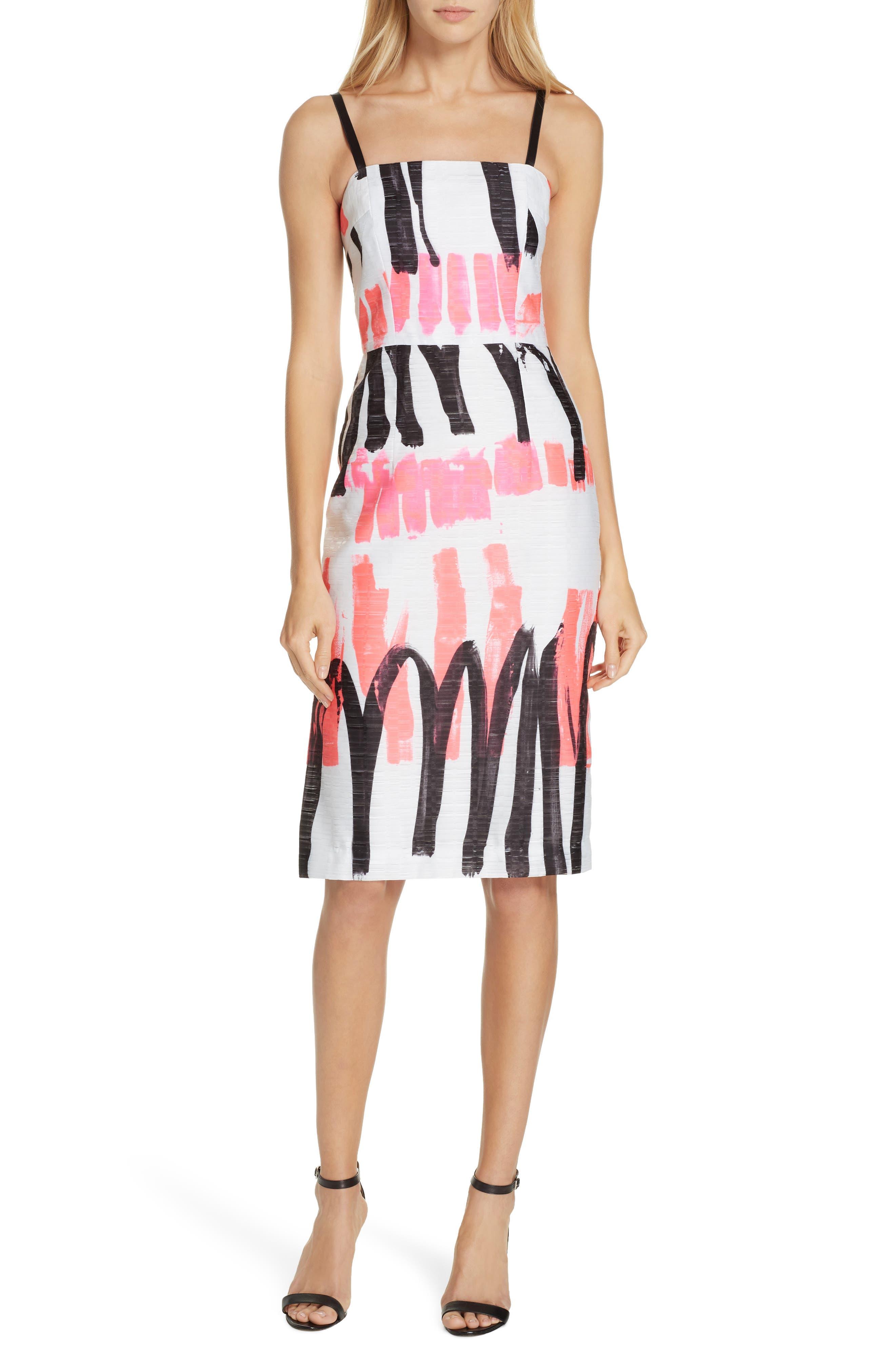 Milly Print Pencil Dress, White