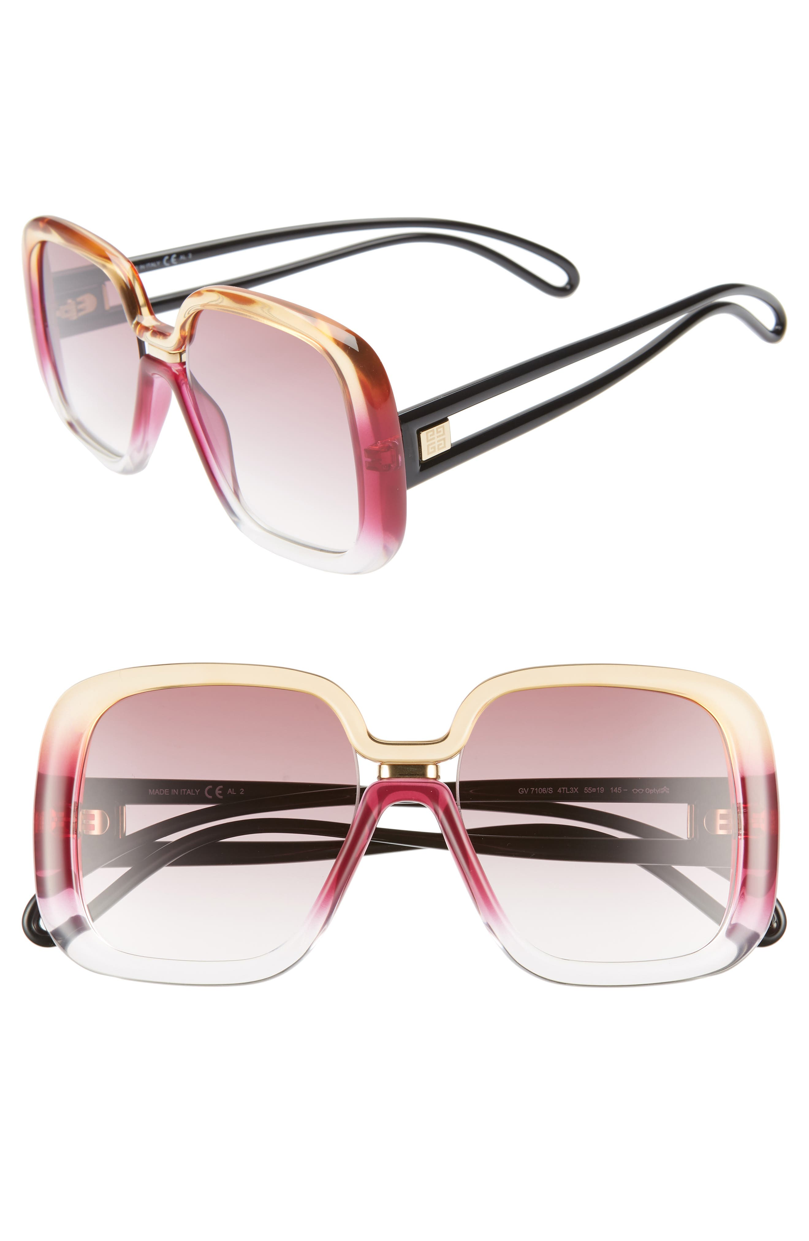 Givenchy 55Mm Square Sunglasses - Fuchsia Peach