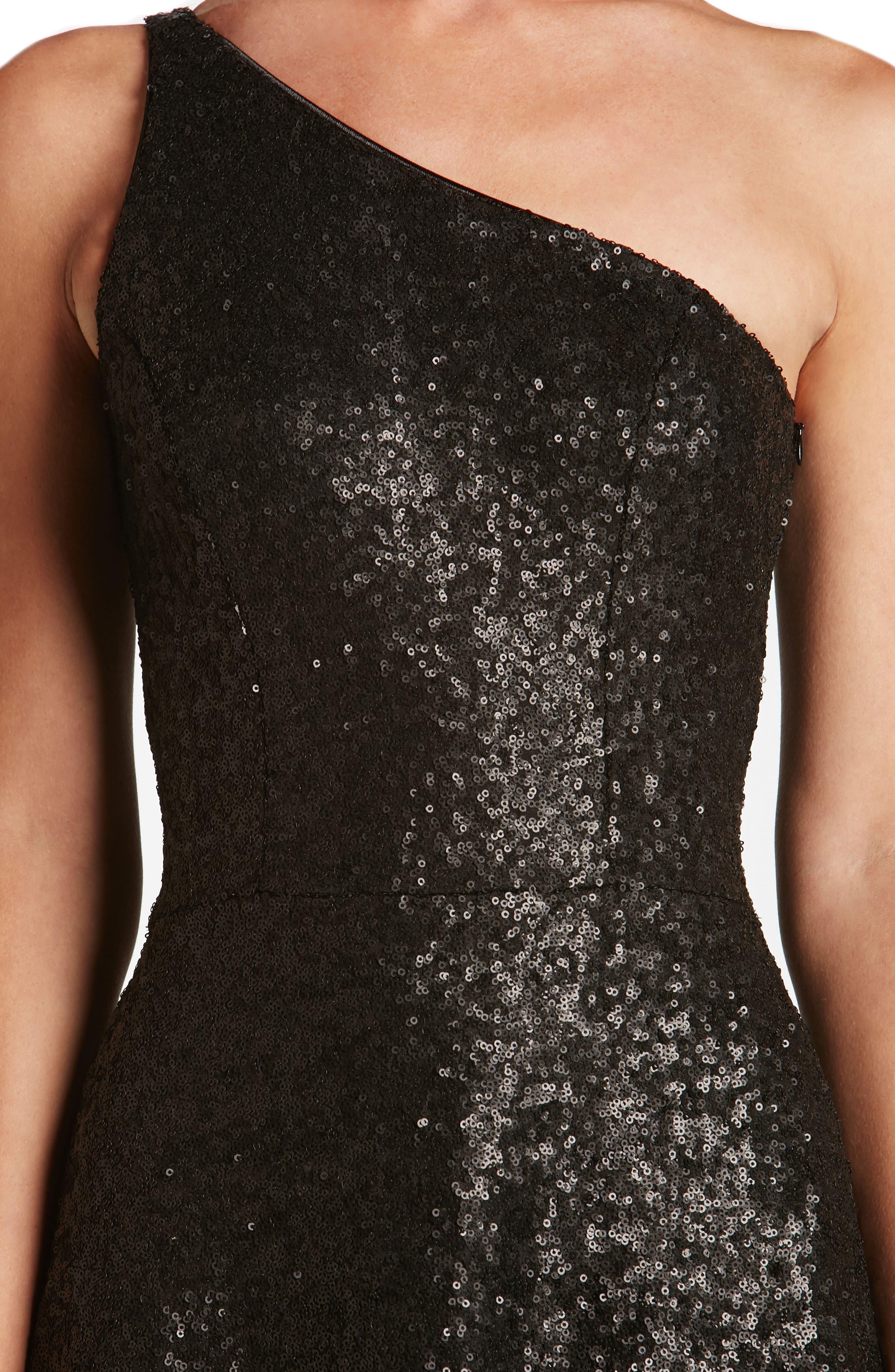 Tina One-Shoulder Sequin Fit & Flare Dress,                             Alternate thumbnail 4, color,                             018