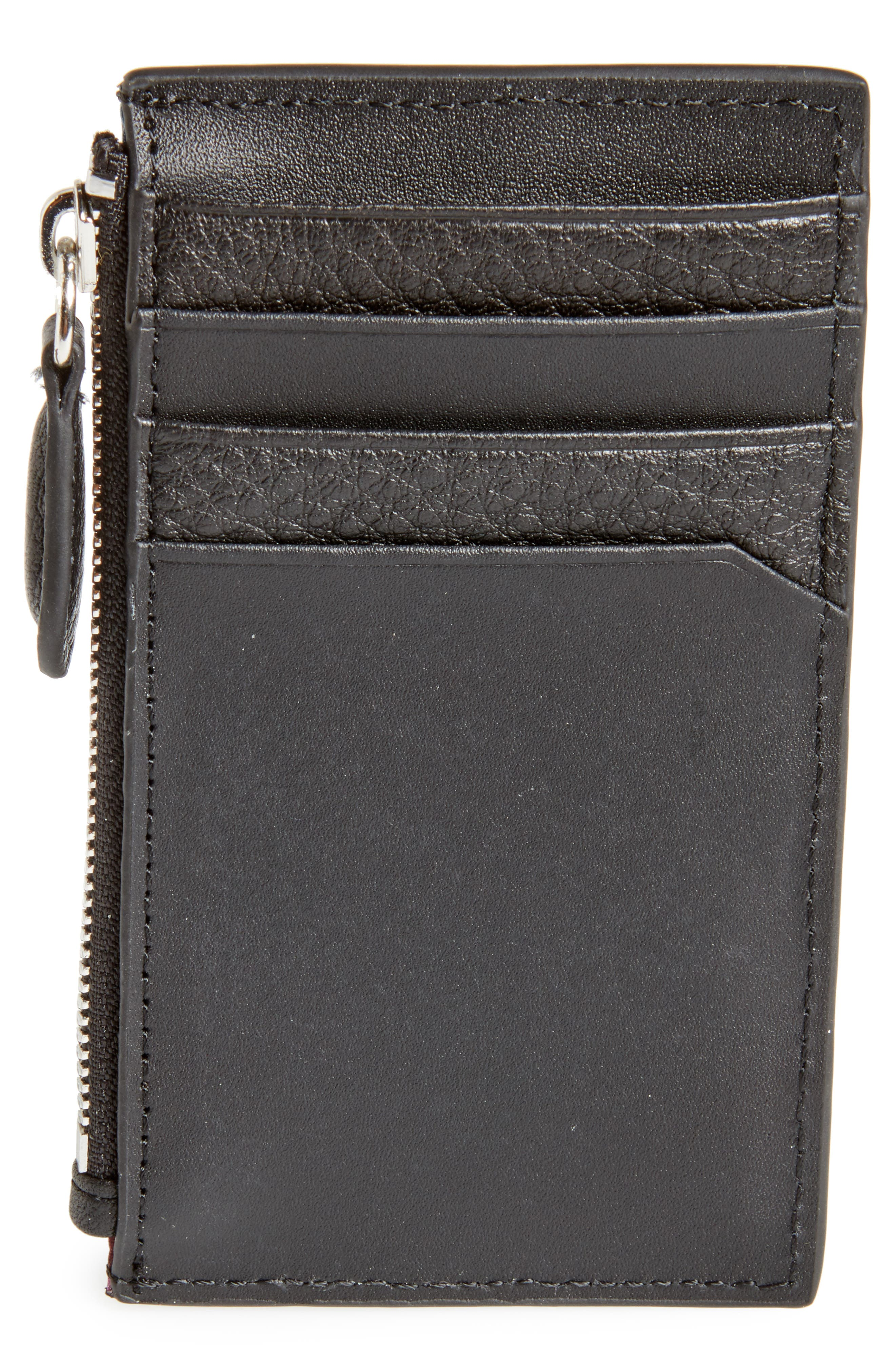 Snapps Core Leather Zip Card Case,                             Alternate thumbnail 3, color,                             001