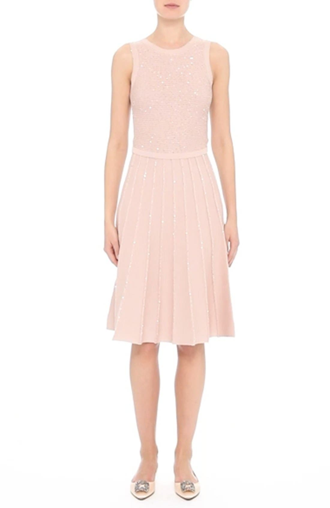 Sparkle Knit Pleated Dress,                             Alternate thumbnail 8, color,                             650