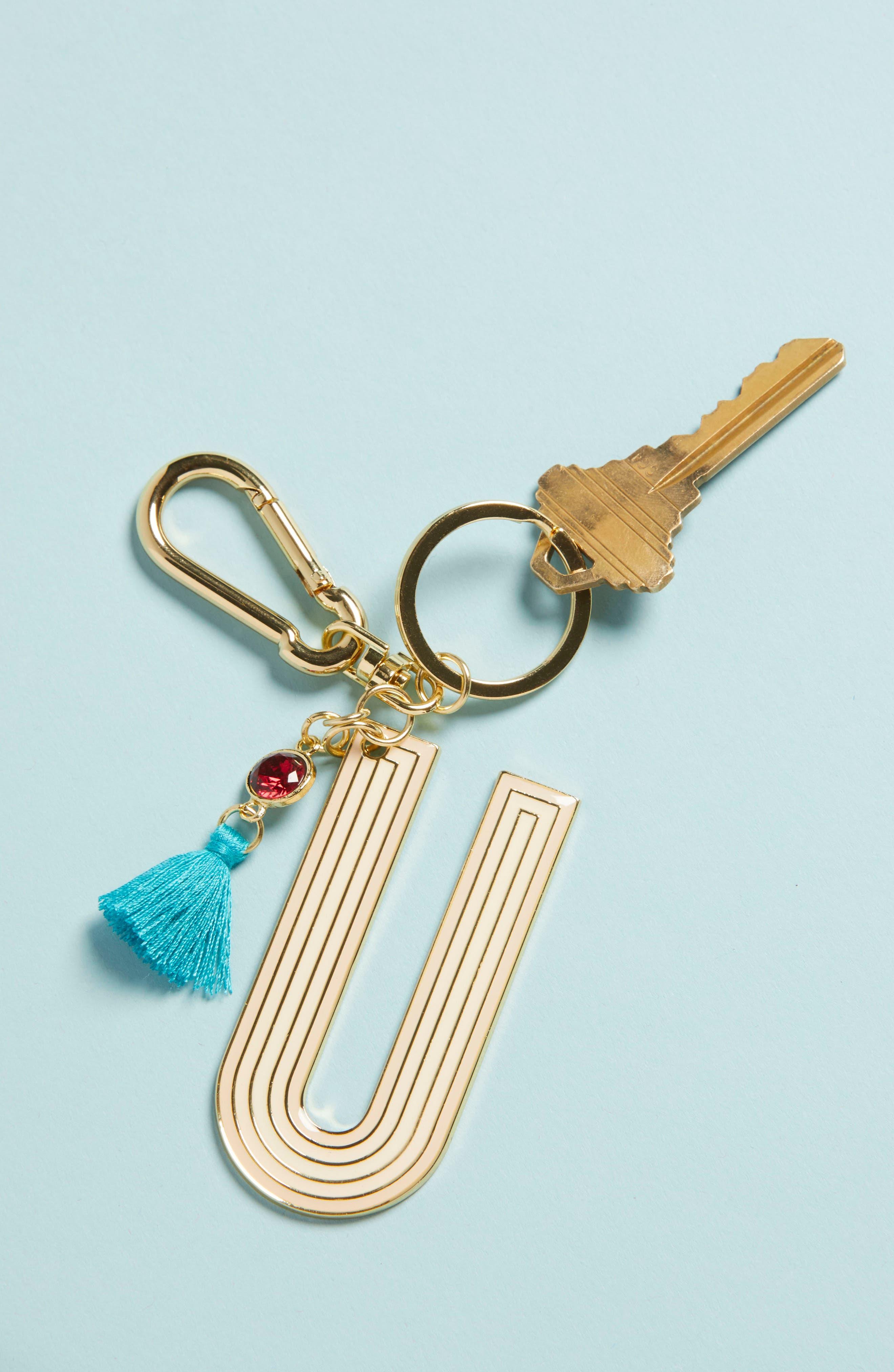 ANTHROPOLOGIE,                             Juniper Monogram Key Chain,                             Alternate thumbnail 2, color,                             U