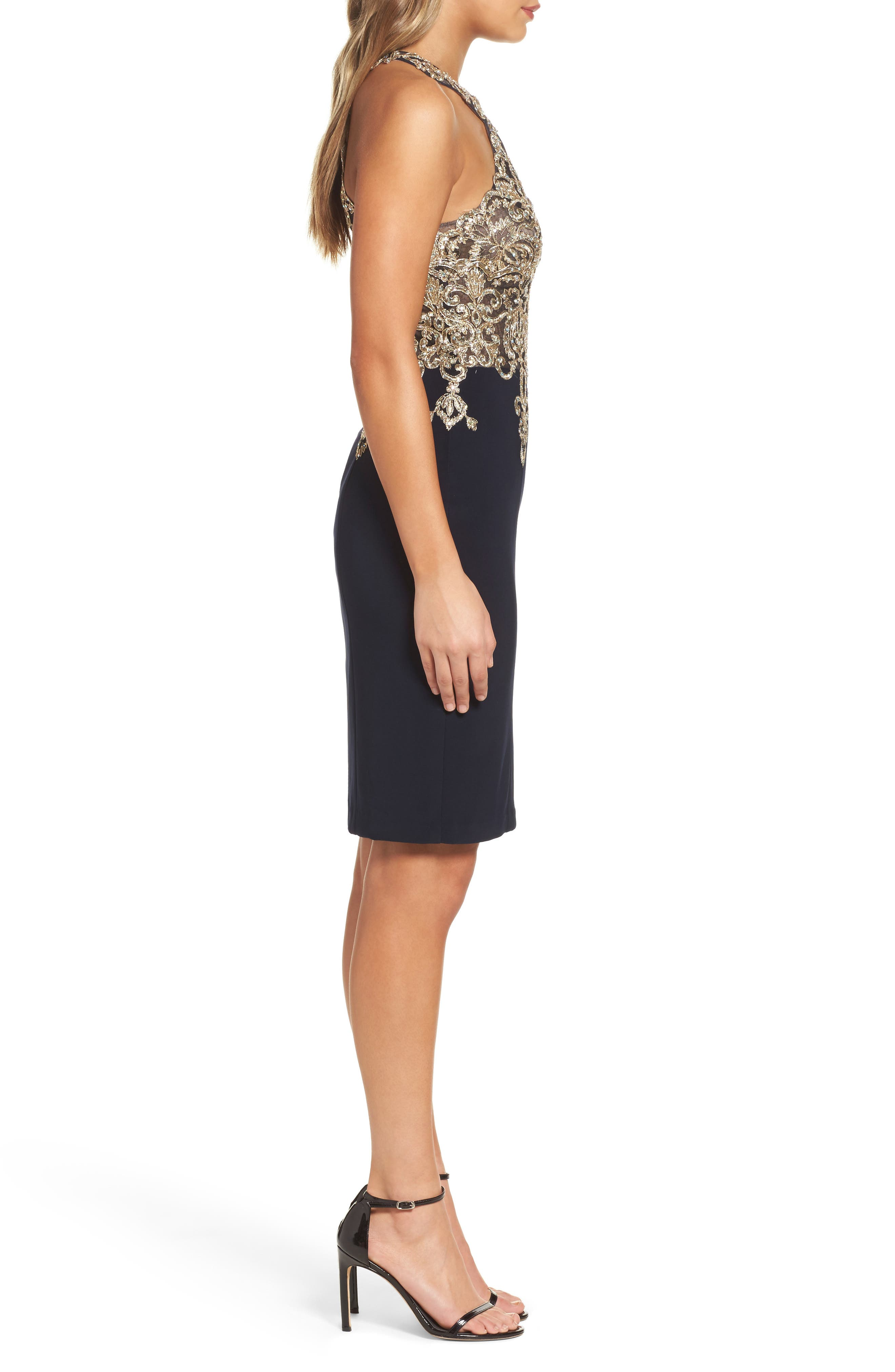 Embroidered Sheath Dress,                             Alternate thumbnail 3, color,                             409