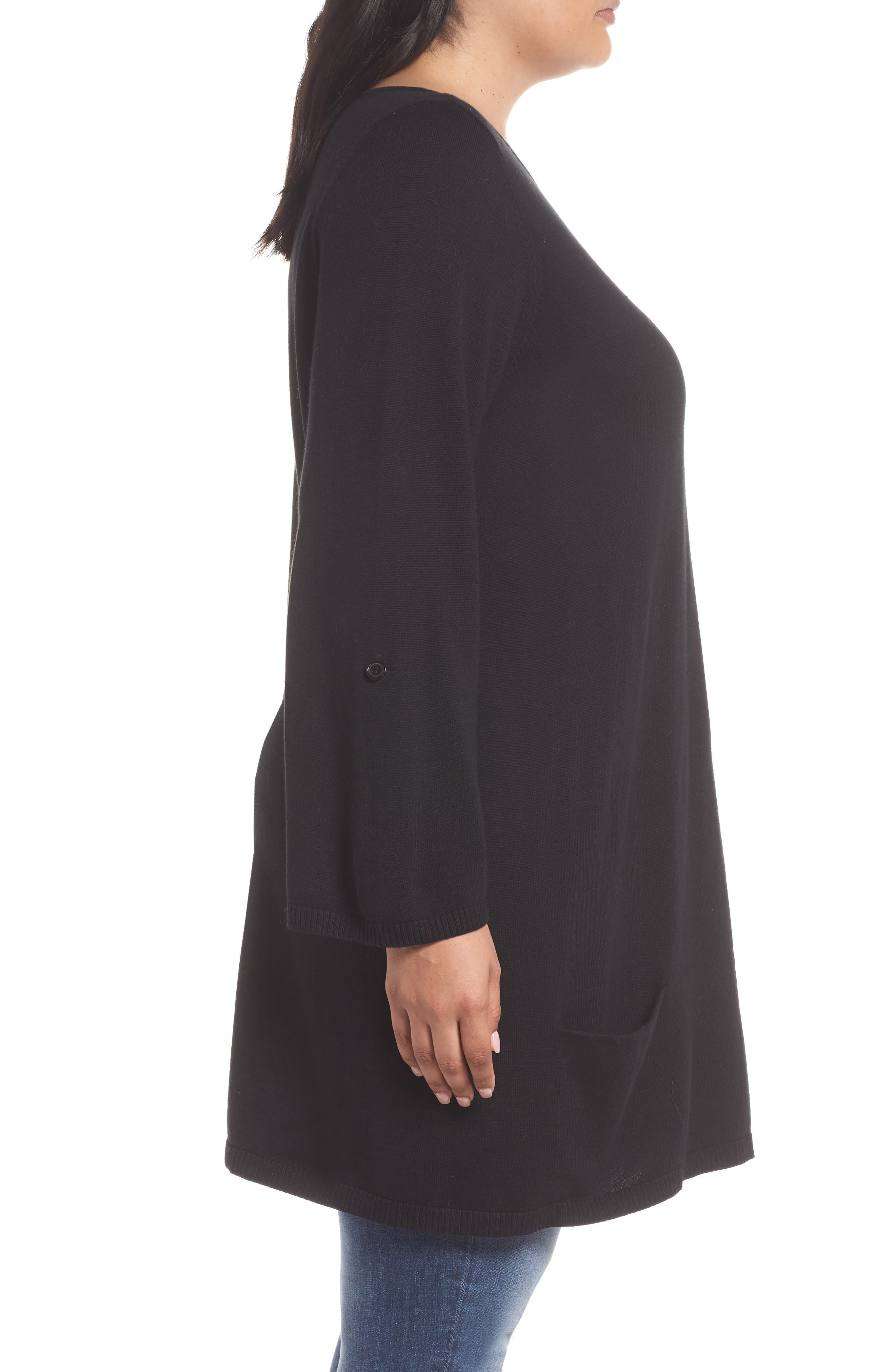 CASLON<SUP>®</SUP>,                             Roll Sleeve Tunic Sweater,                             Alternate thumbnail 3, color,                             BLACK