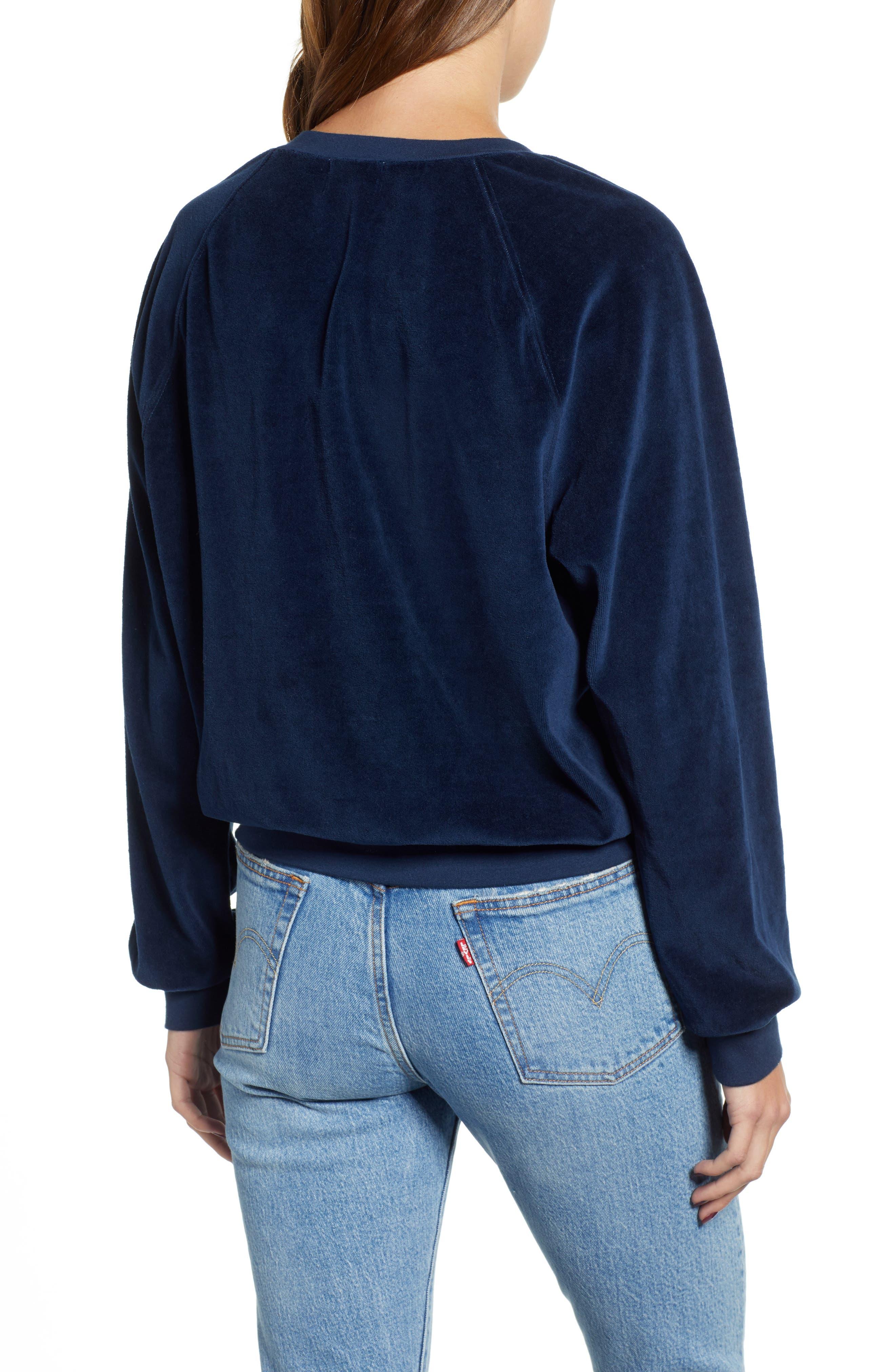 Velour Sweatshirt,                             Alternate thumbnail 2, color,                             NAVY