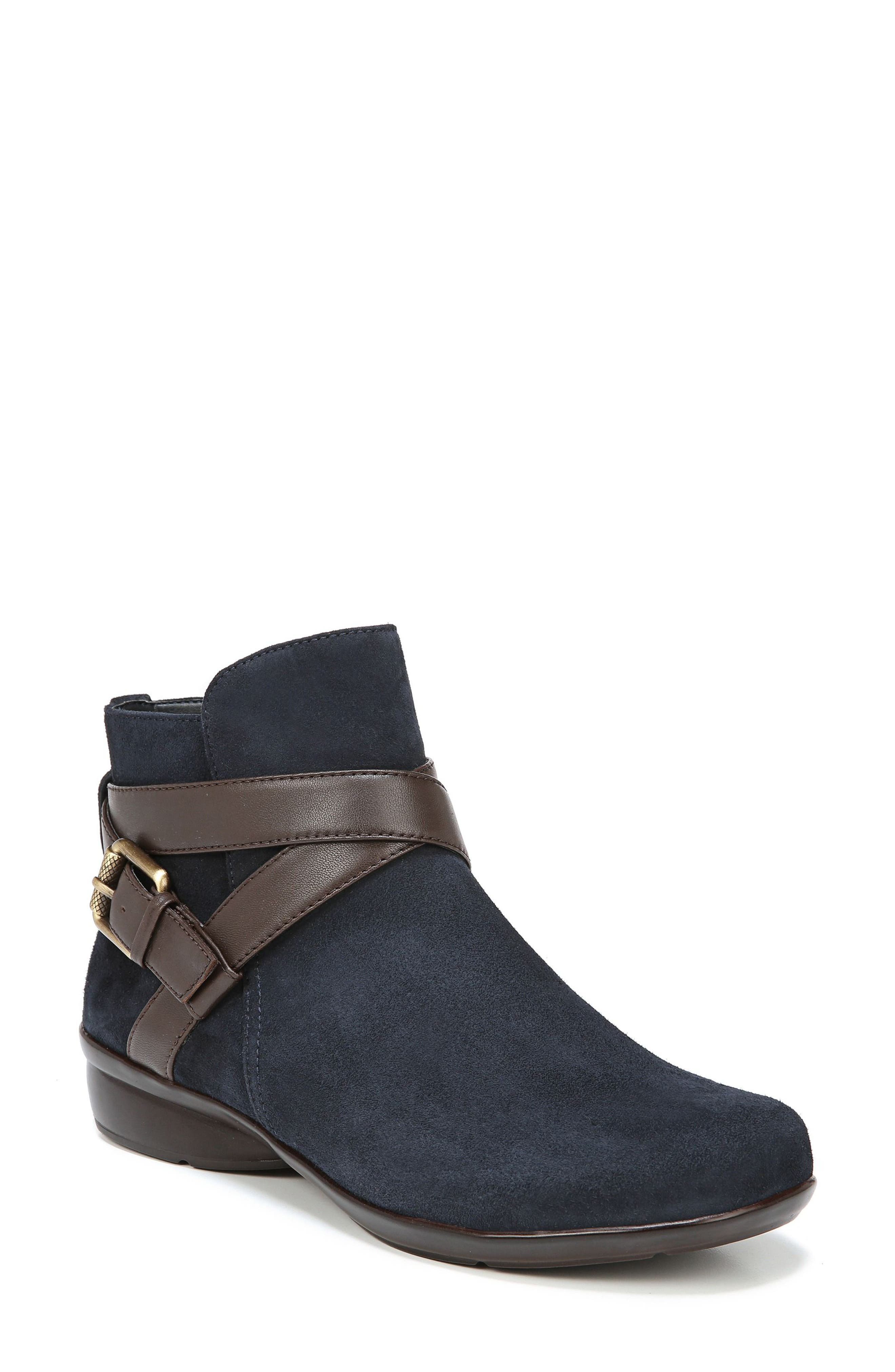Cassandra Buckle Strap Bootie,                             Main thumbnail 1, color,                             NAVY/ BROWN SUEDE
