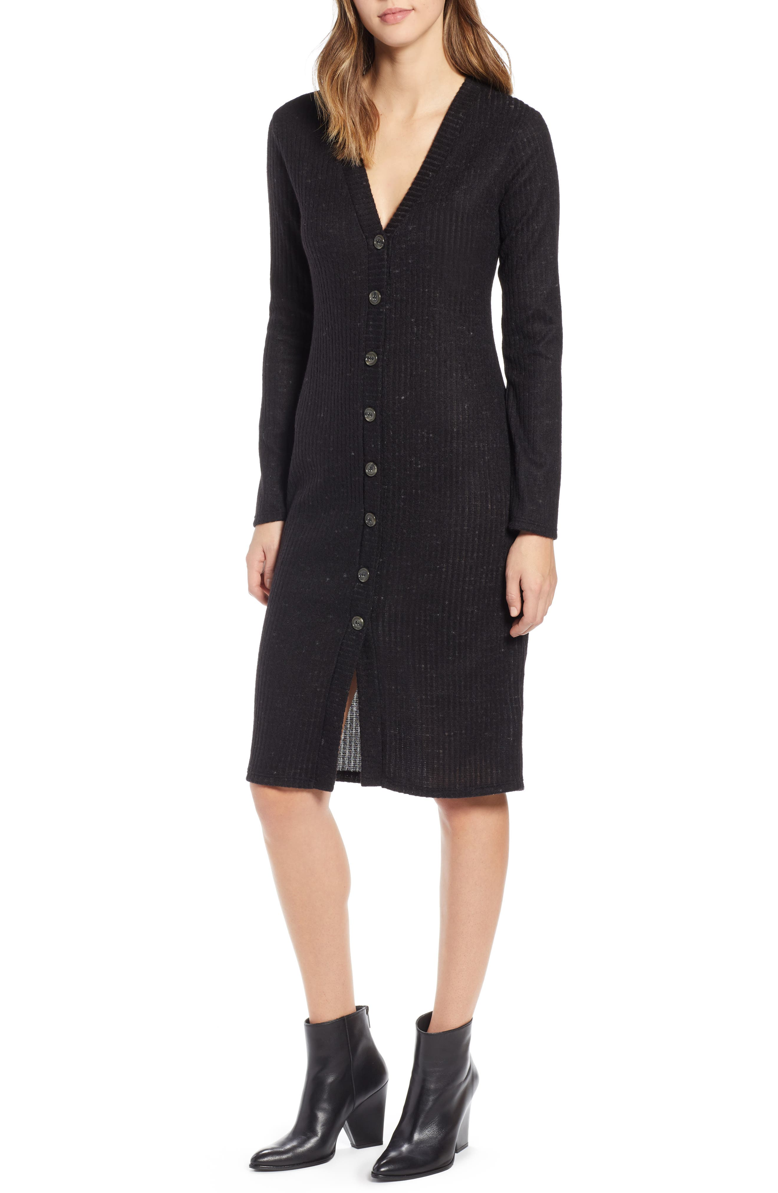Socialite Sweater Dress, Black