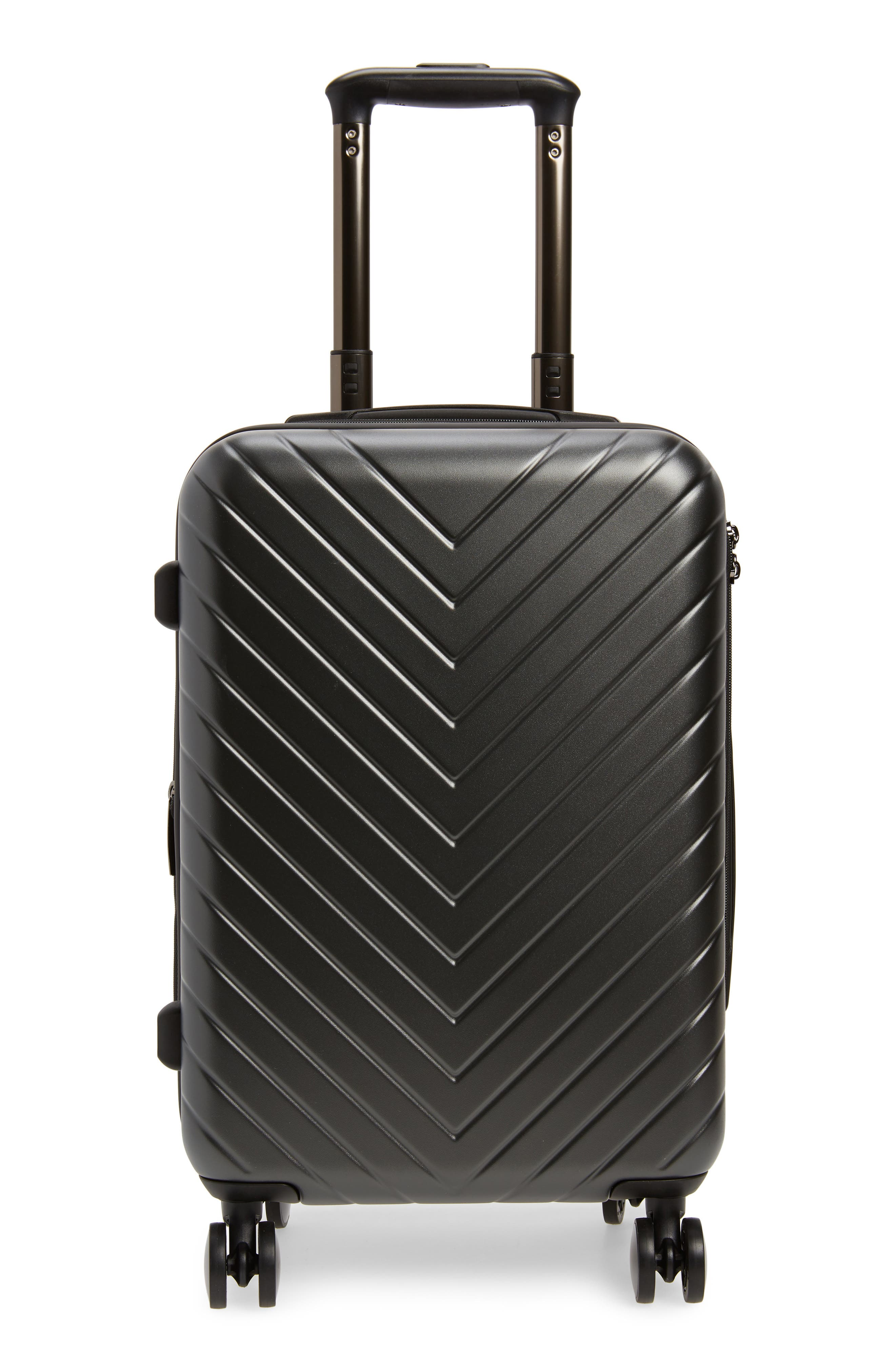 Chevron 18-Inch Spinner Carry-On,                         Main,                         color, GUNMETAL