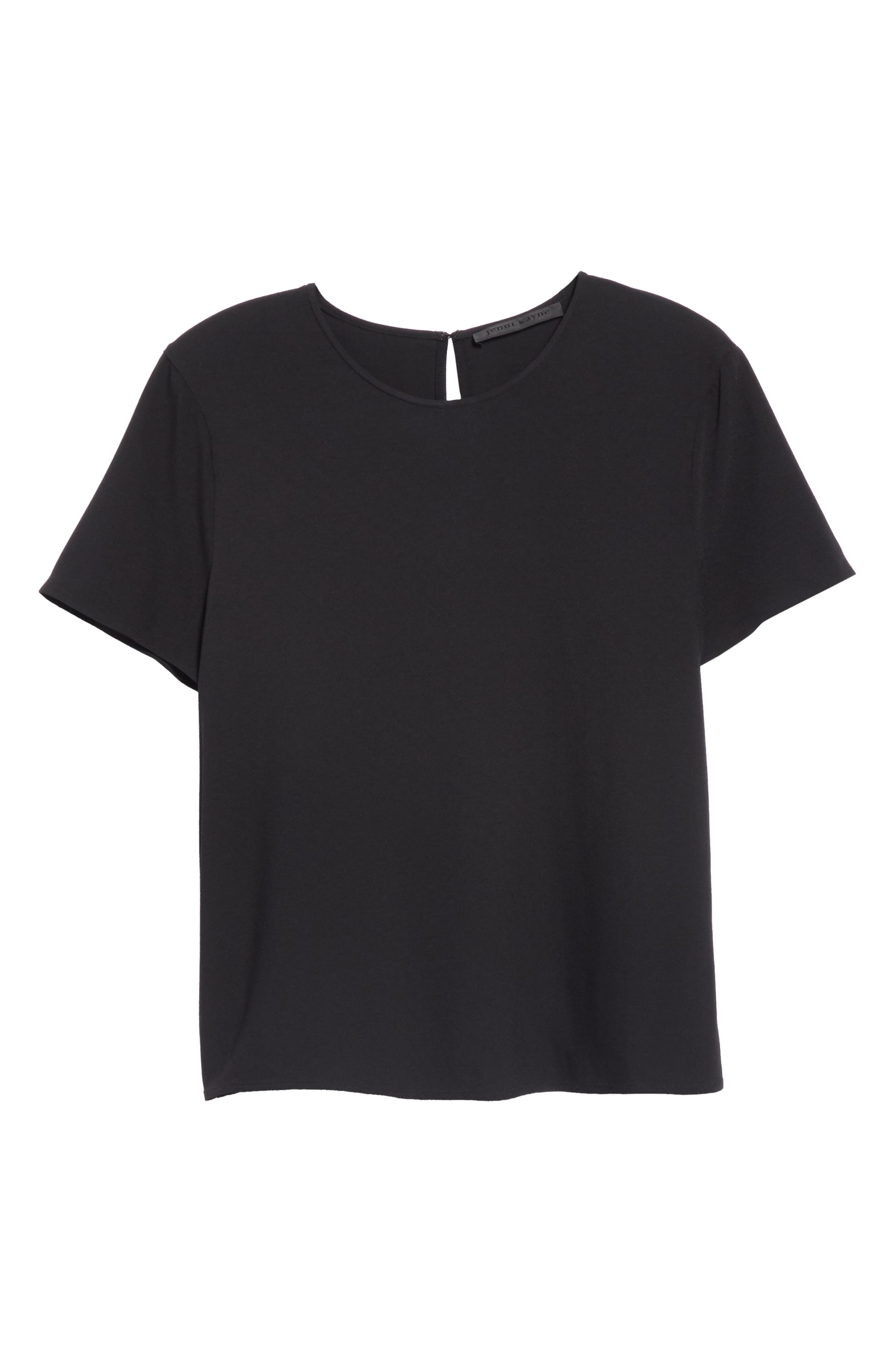 Crepe Tee,                             Alternate thumbnail 6, color,                             BLACK