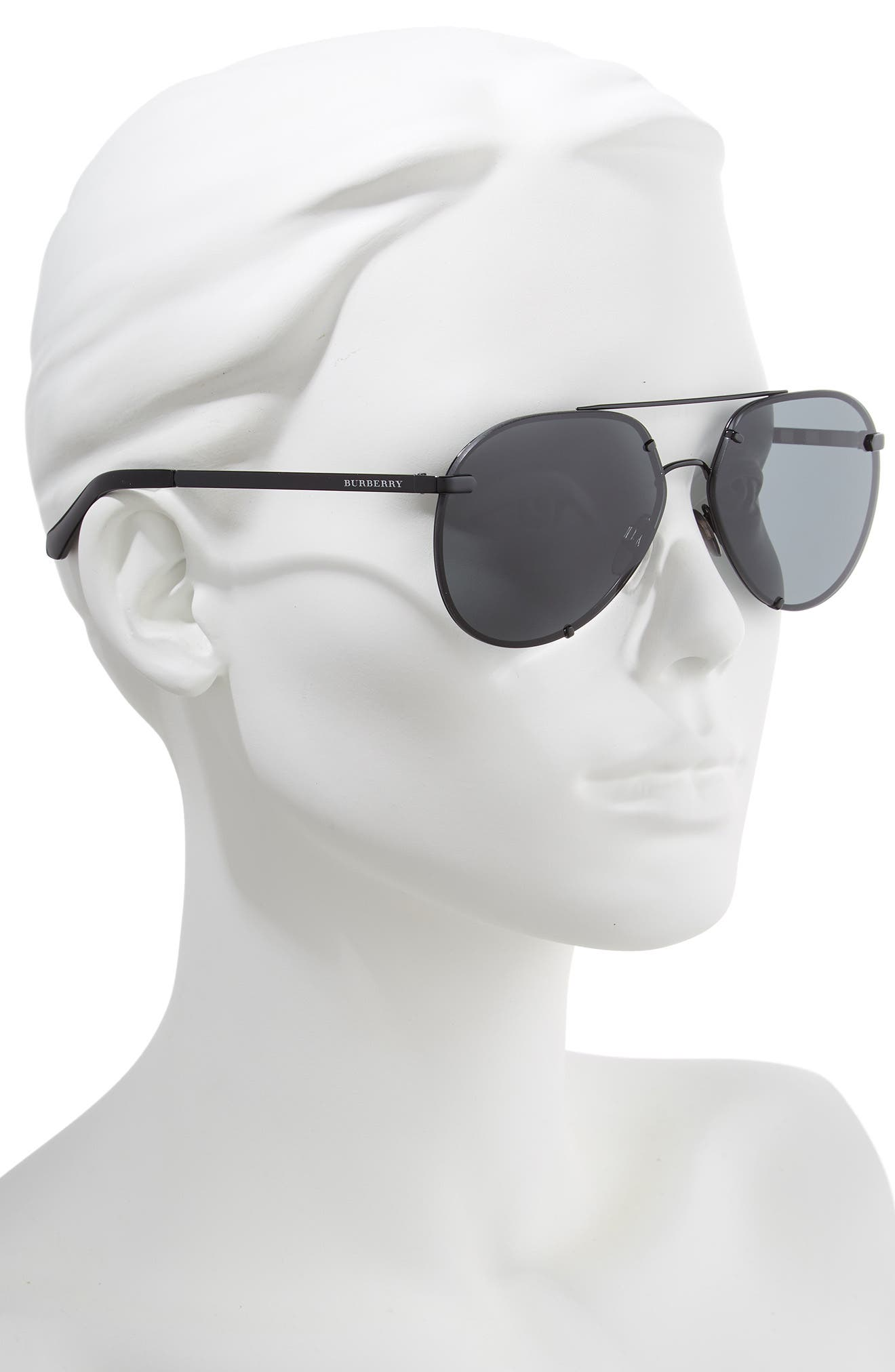 Trench 61mm Aviator Sunglasses,                             Alternate thumbnail 2, color,                             BLACK SOLID