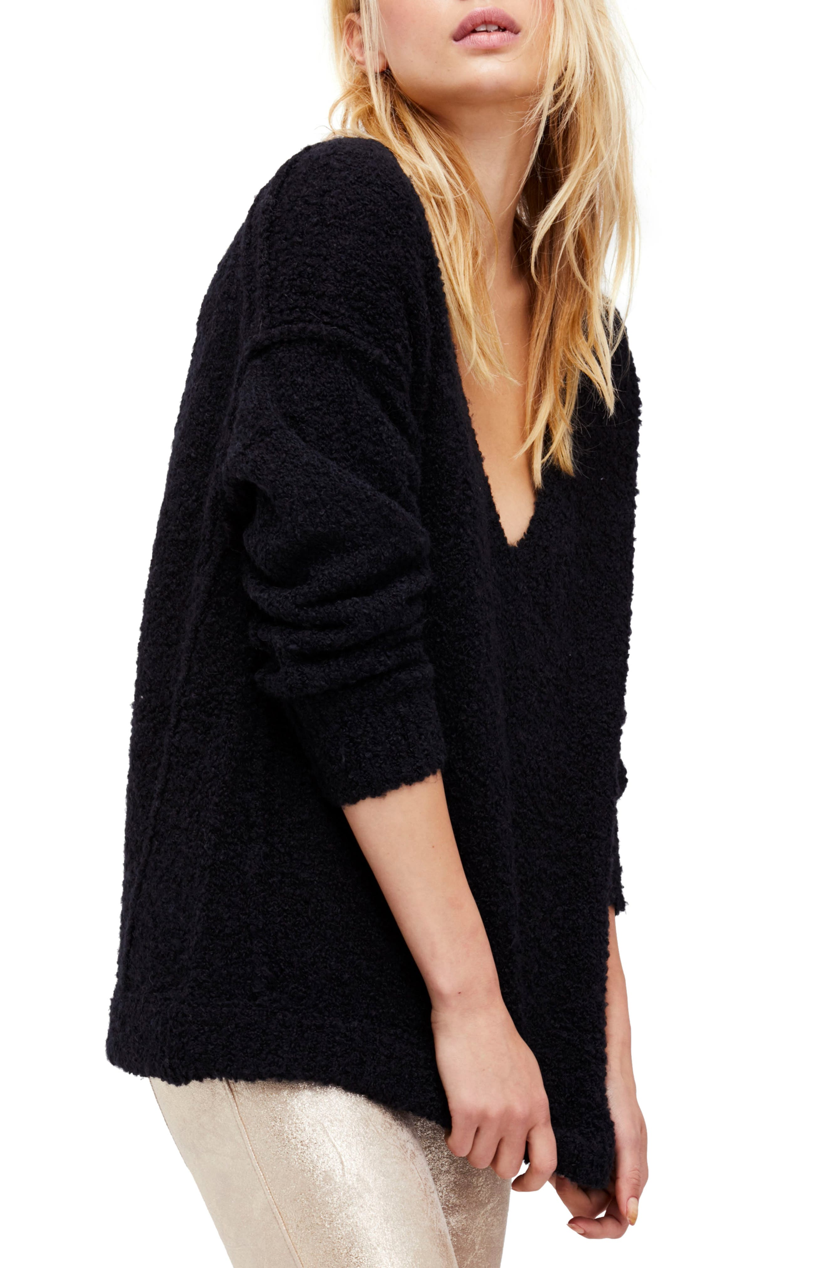 Lofty V-Neck Sweater,                             Main thumbnail 1, color,                             001