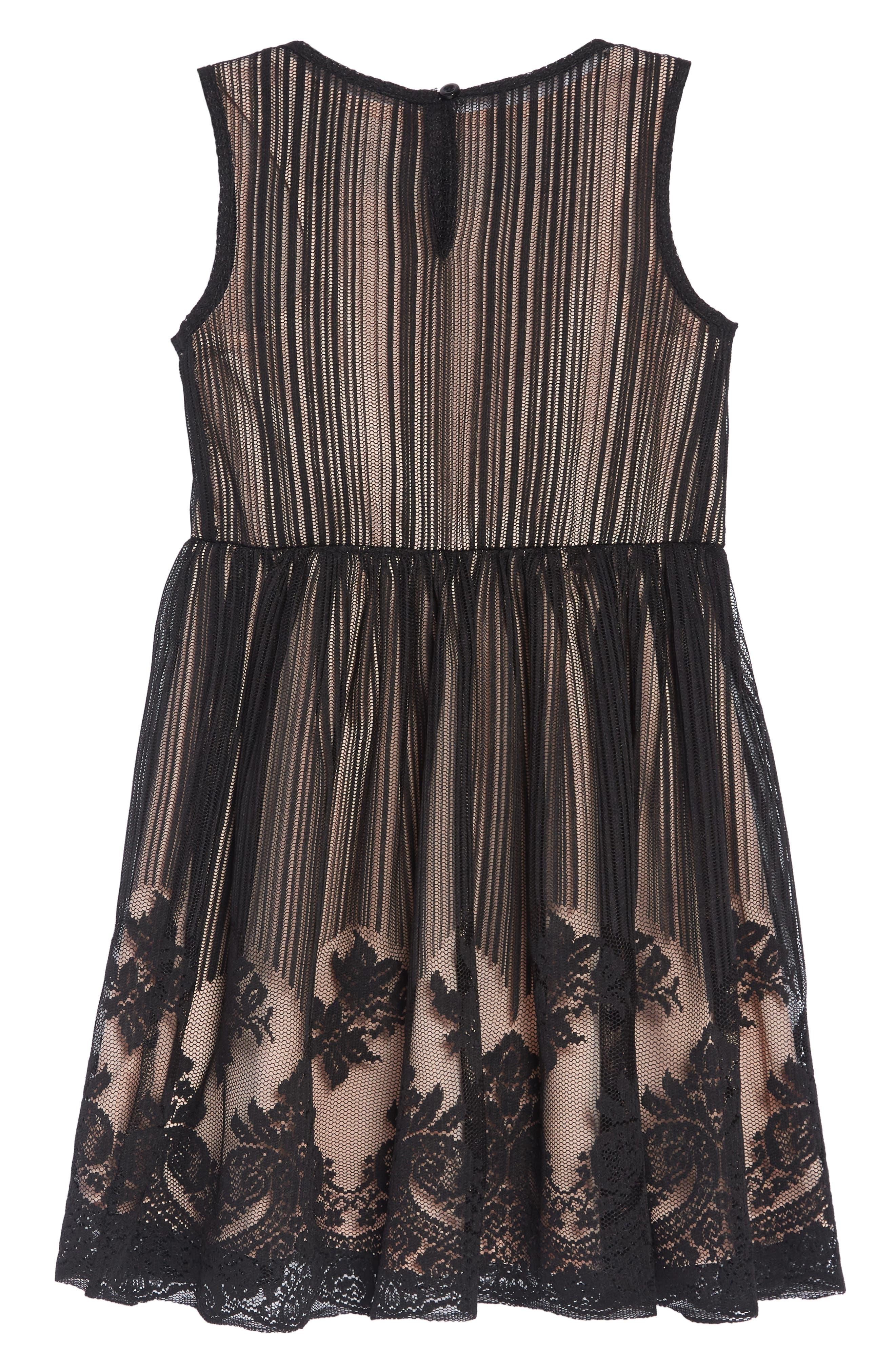 Mesh Overlay Dress,                             Alternate thumbnail 2, color,                             BLACK/ NUDE