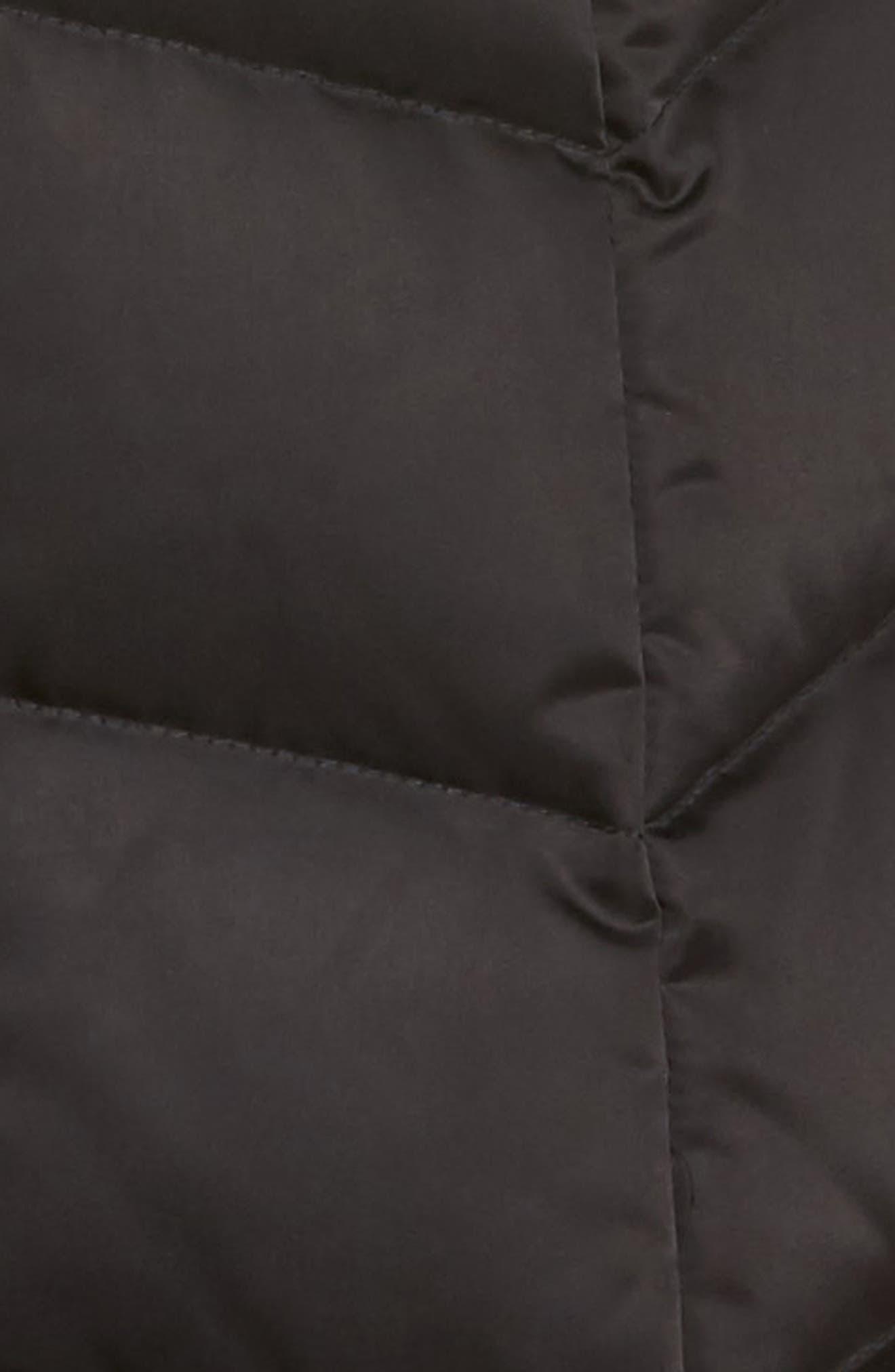 Gwen Chevron Down & Feather Faux Fur Coat,                             Alternate thumbnail 7, color,                             BLACK
