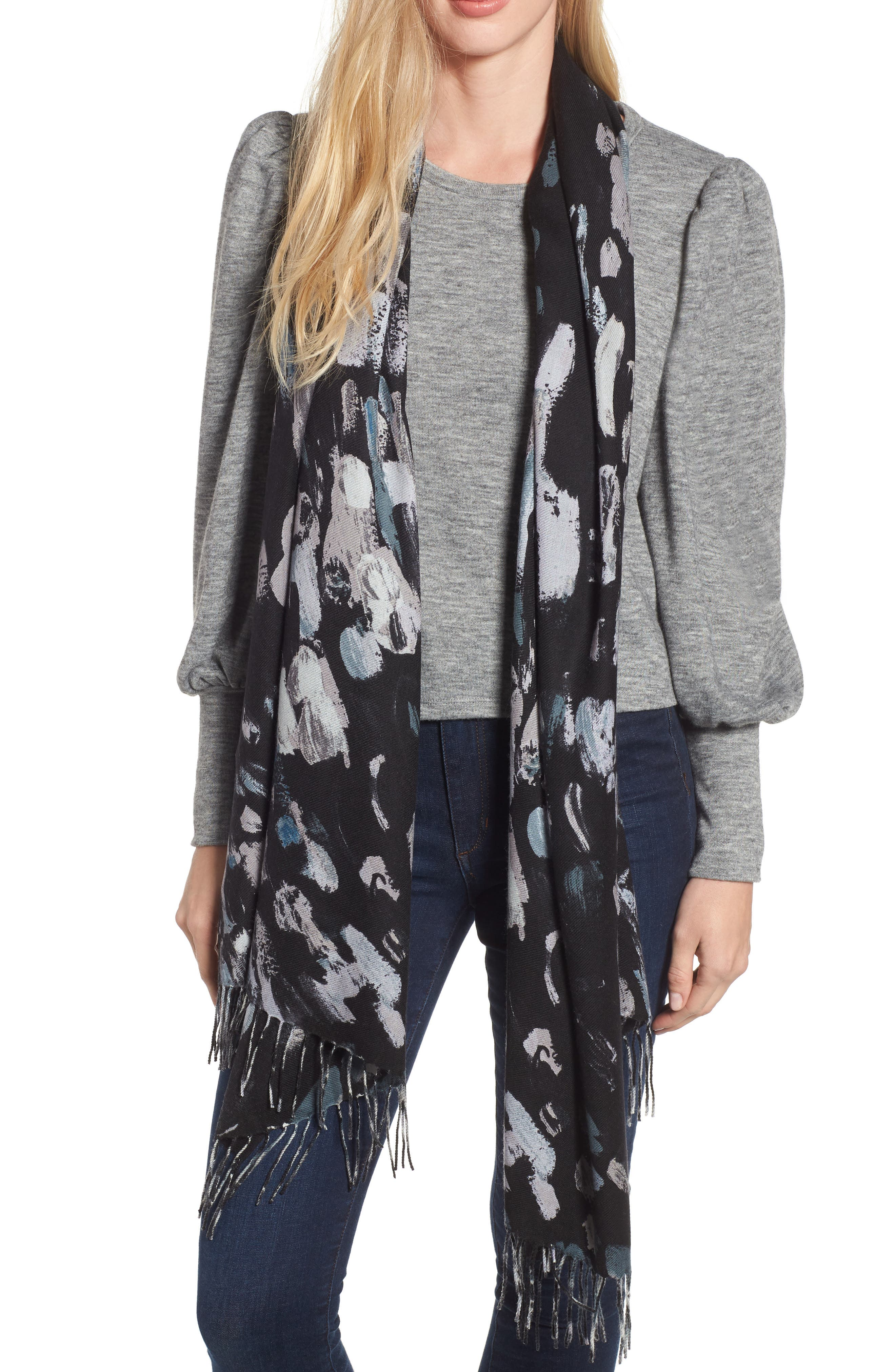 Tissue Print Wool & Cashmere Wrap Scarf,                         Main,                         color, BLACK IMPRESSIONIST DOT