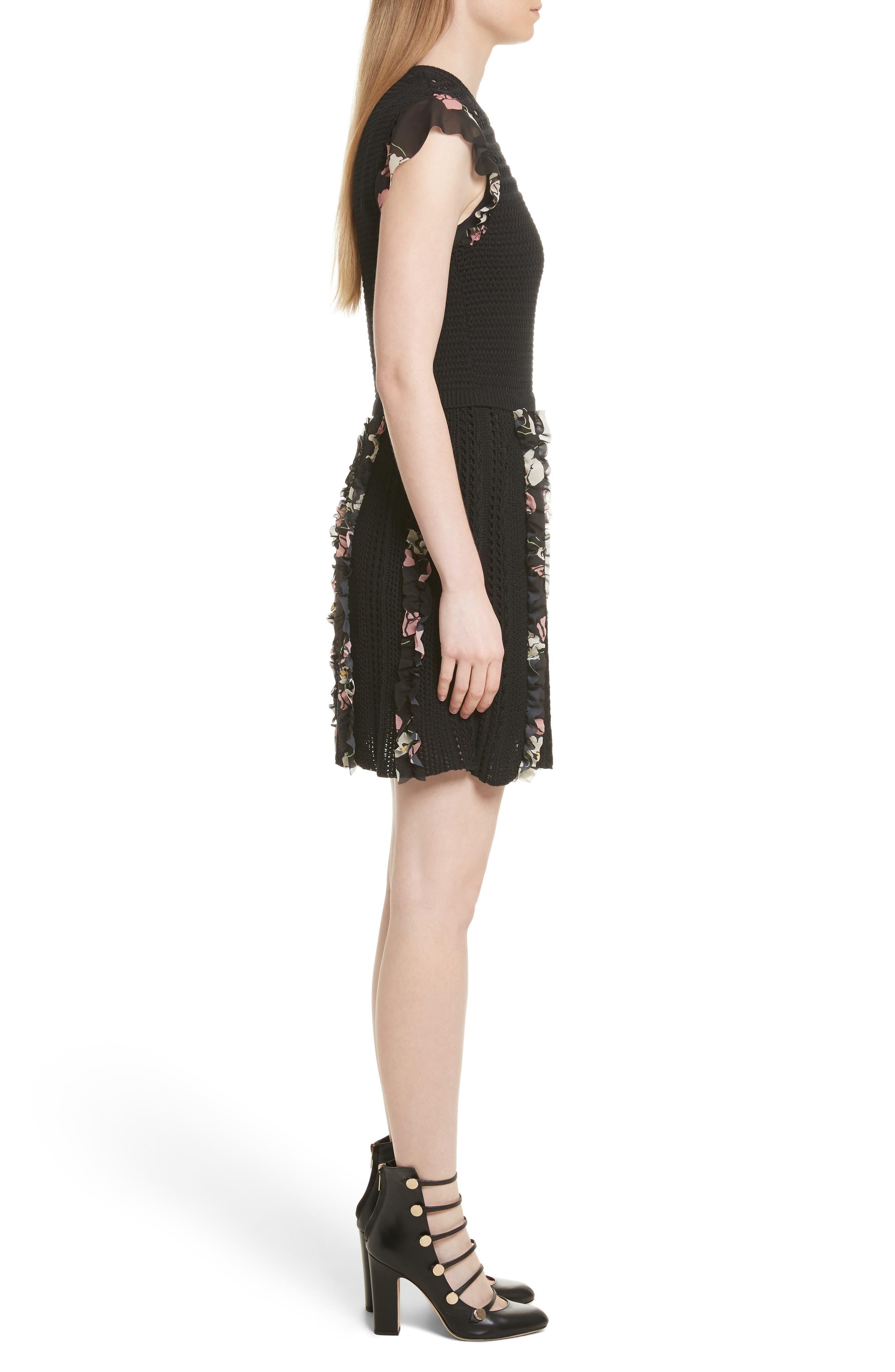 Ruffle Crochet Dress,                             Alternate thumbnail 3, color,                             001