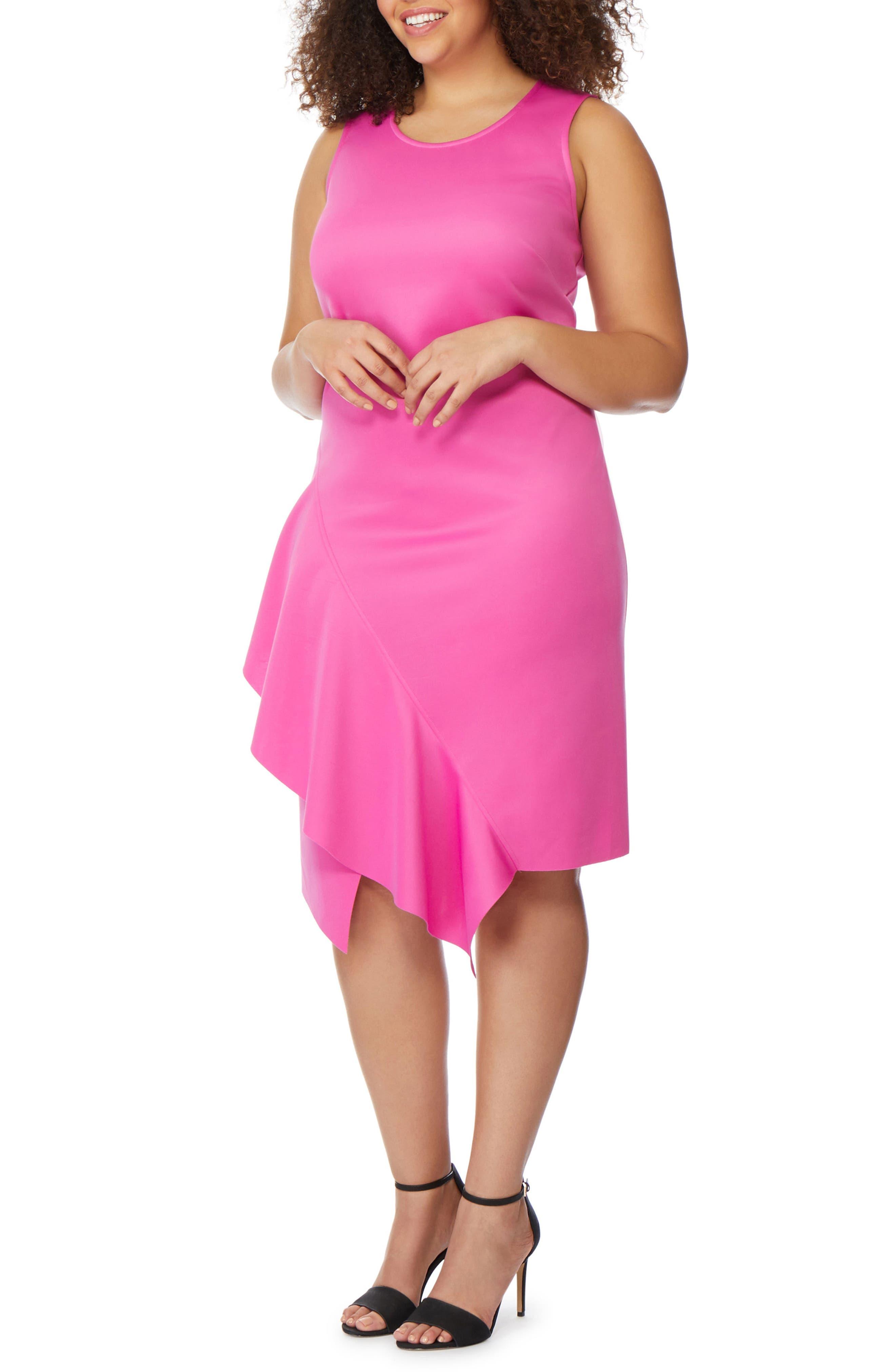 Asymmetrical Hem Ruffle Dress,                             Alternate thumbnail 3, color,                             ROSE VIOLET