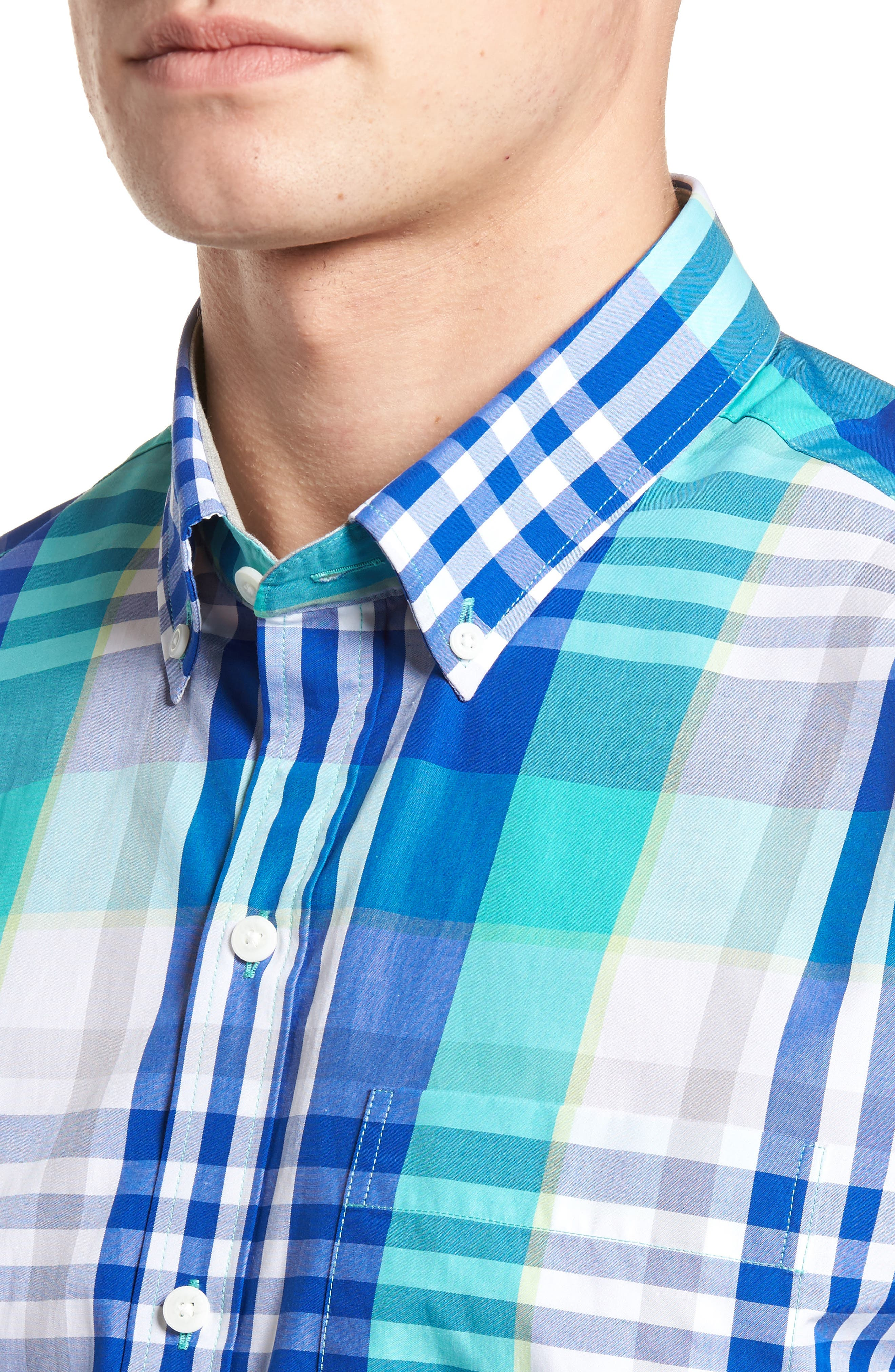 Cooper Classic Fit Non-Iron Plaid Sport Shirt,                             Alternate thumbnail 7, color,