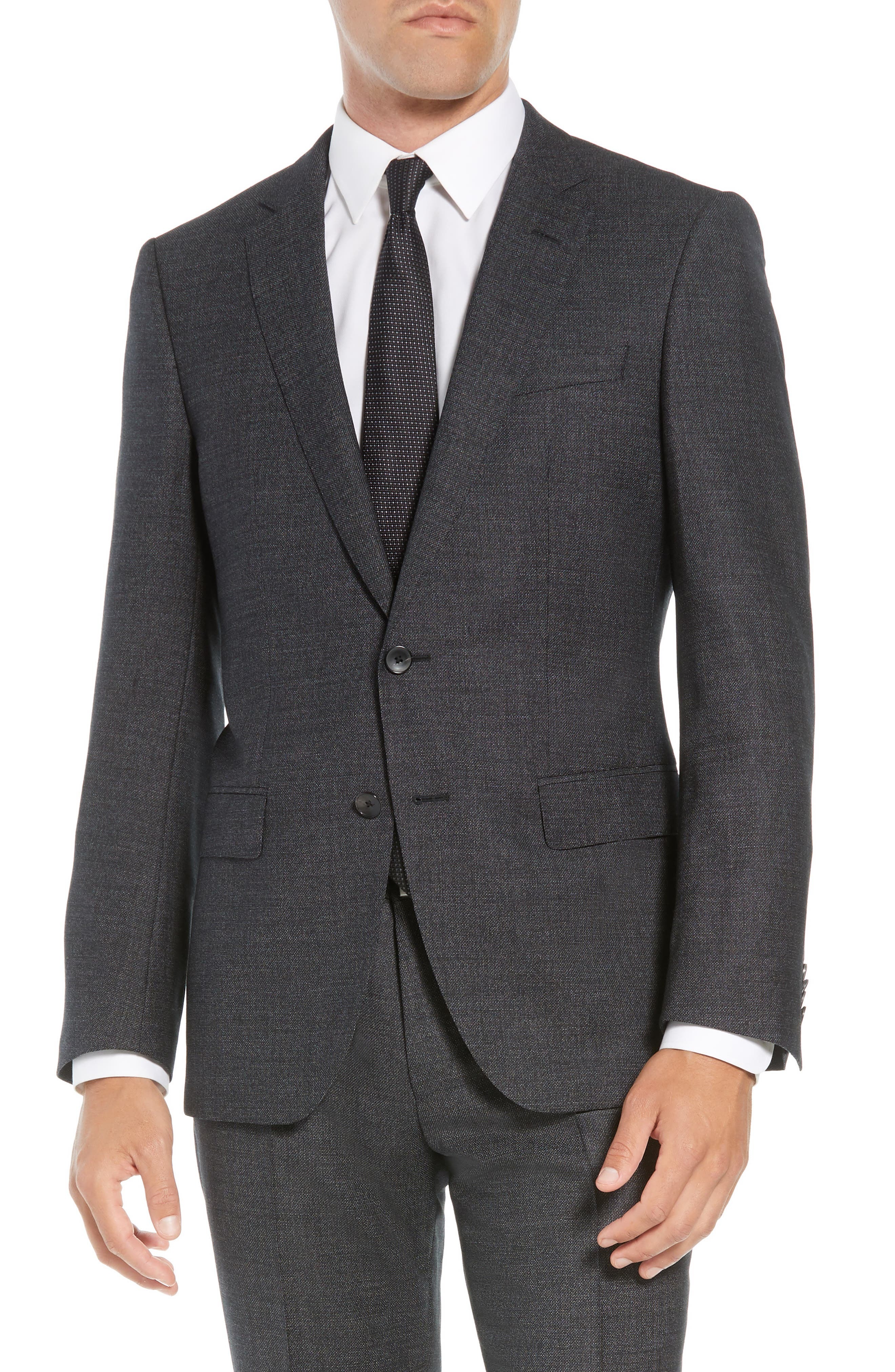 Huge/Genius Trim Fit Solid Wool Suit,                             Alternate thumbnail 5, color,                             BLACK