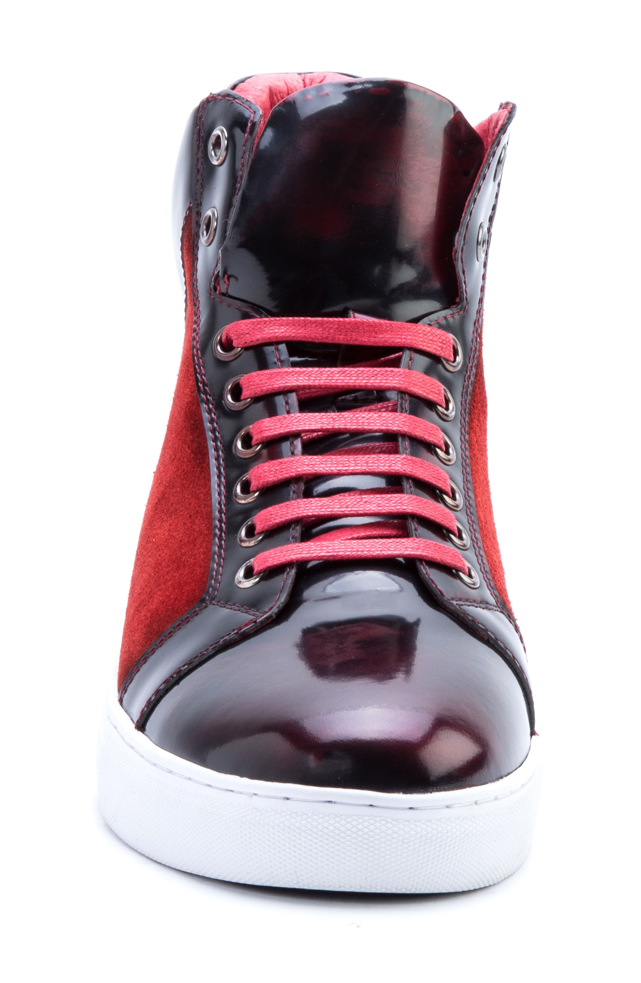 Douglas High Top Sneaker,                             Alternate thumbnail 4, color,                             RED LEATHER