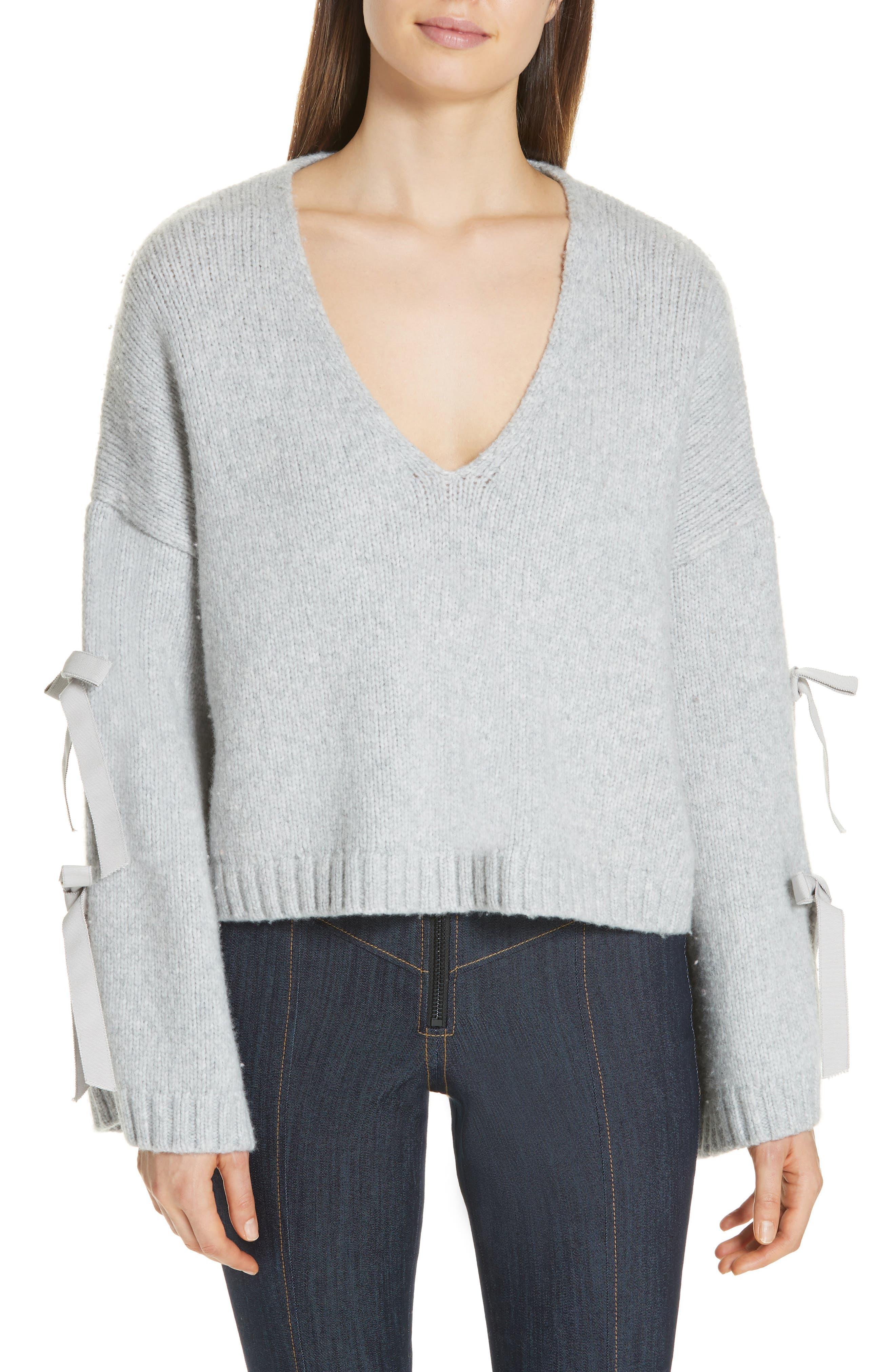 Cinq A Sept Sidel Tie Sleeve Wool Blend Sweater, Grey