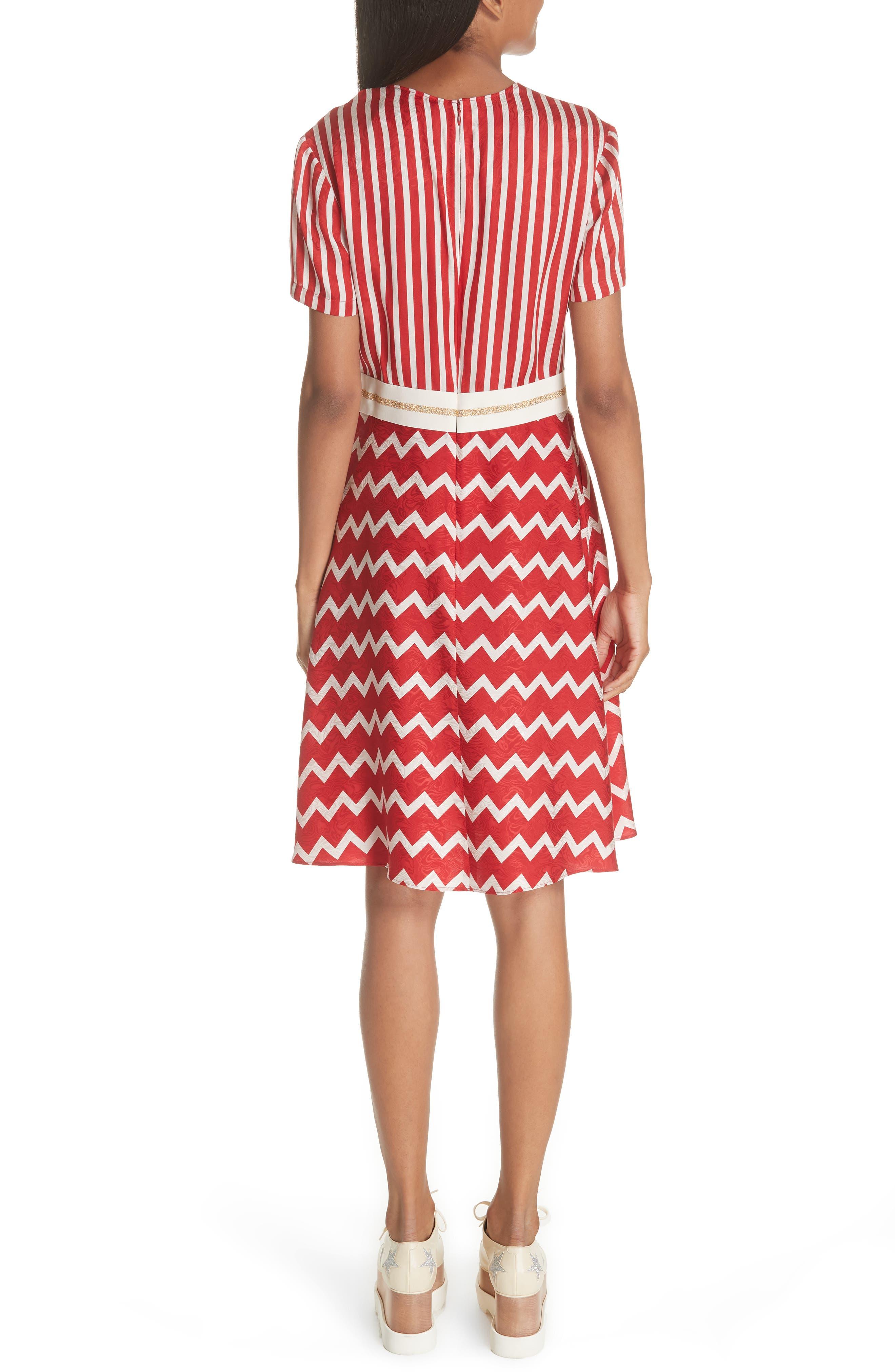 STELLA MCCARTNEY,                             Zigzag Stripe Silk Dress,                             Alternate thumbnail 2, color,                             627