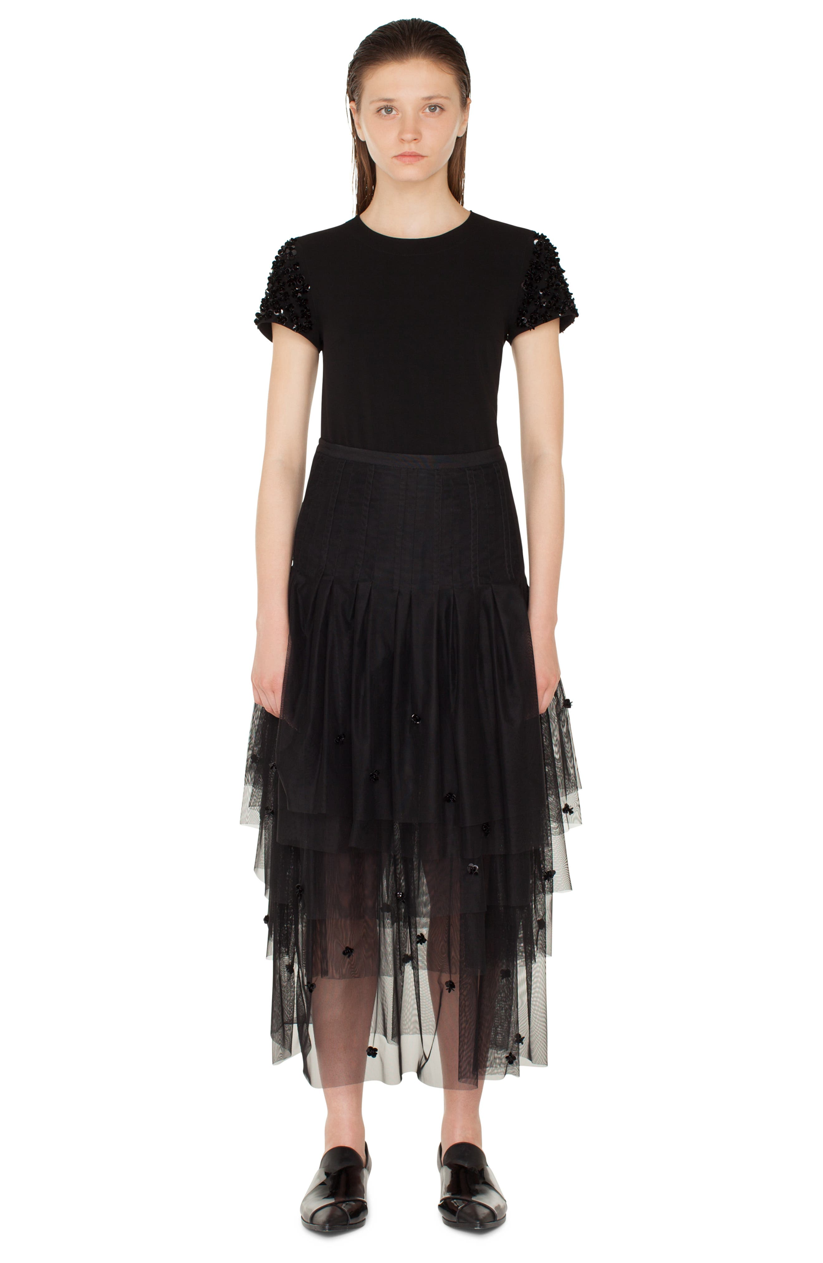 3D Sequin Tulle Maxi Skirt,                             Alternate thumbnail 4, color,                             NERO