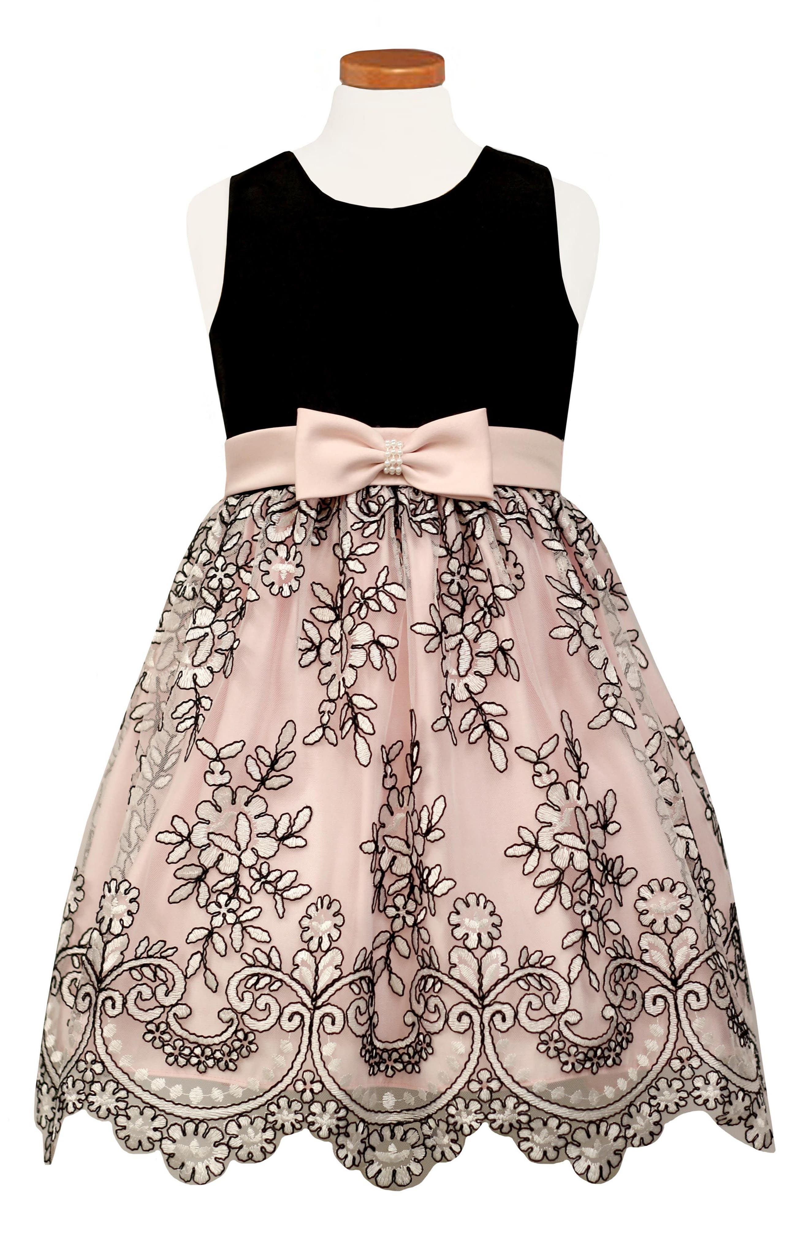 Embroidered Party Dress,                             Main thumbnail 1, color,                             650