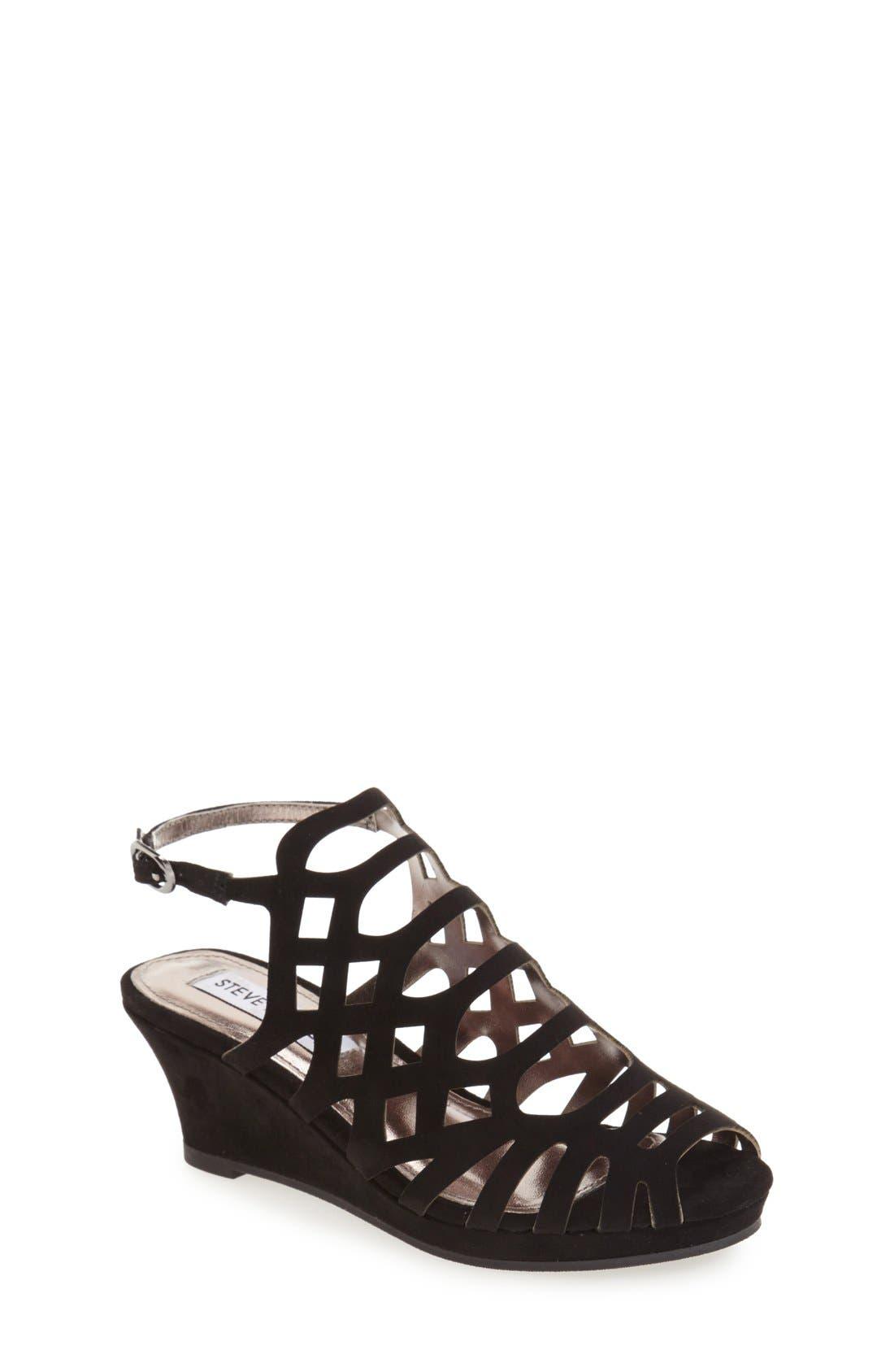'Jslithr' Cage Wedge Sandal, Main, color, BLACK