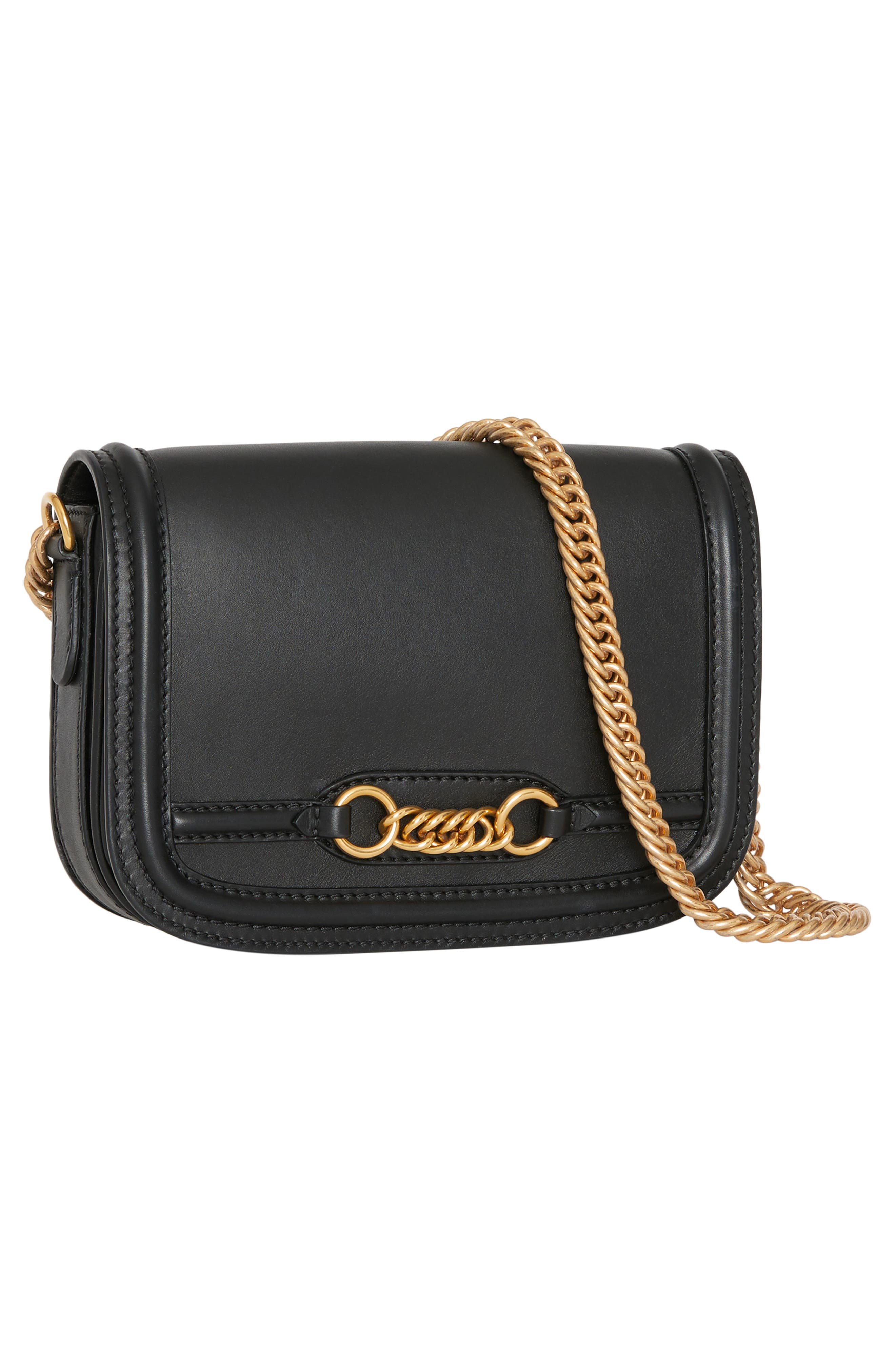 Link Flap Leather Crossbody Bag,                             Alternate thumbnail 5, color,                             BLACK