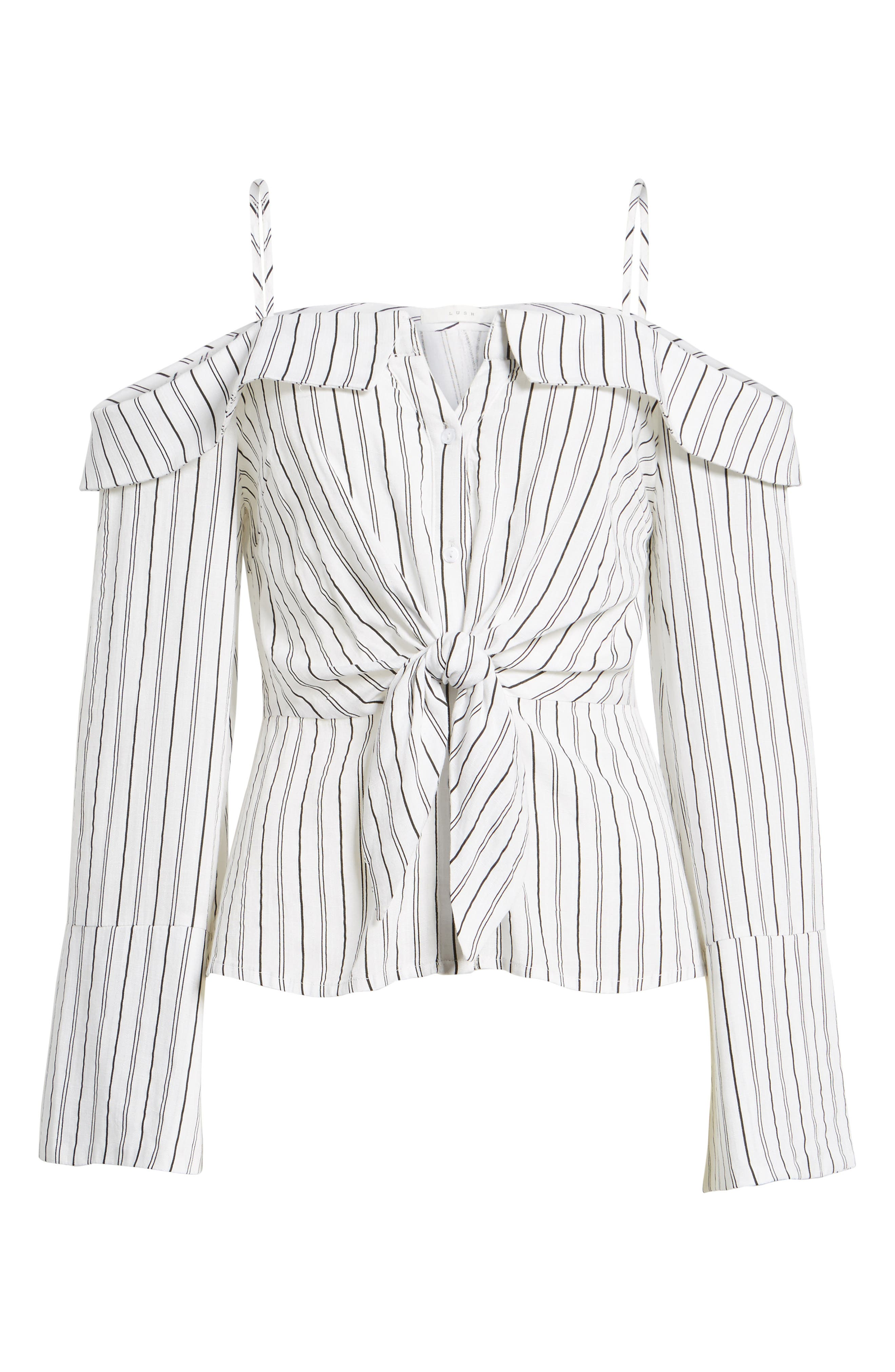 Stripe Tie Waist Off the Shoulder Shirt,                             Alternate thumbnail 6, color,                             100