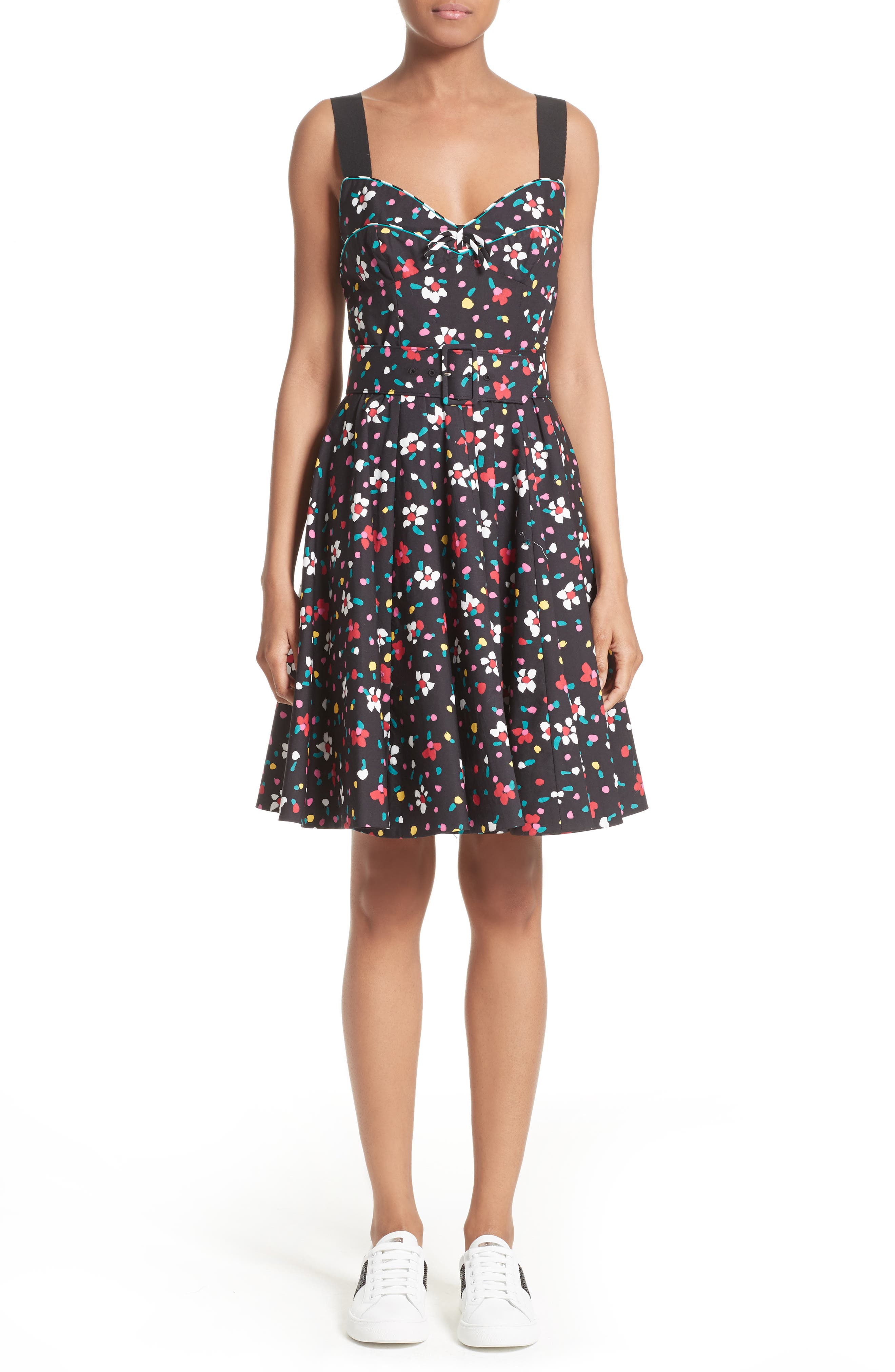 Floral Print Poplin Fit & Flare Dress,                             Main thumbnail 1, color,