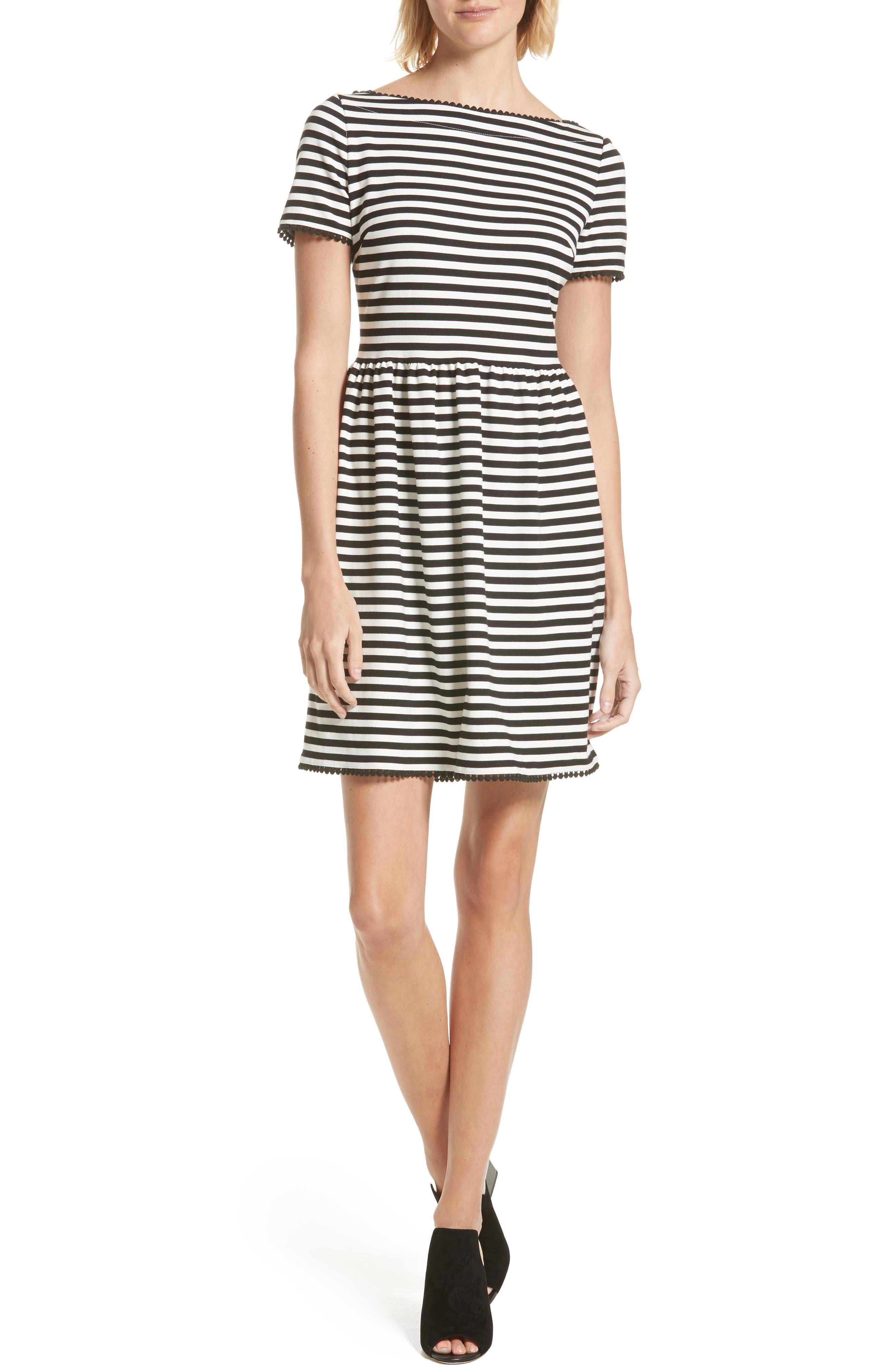 KATE SPADE NEW YORK stripe ponte dress, Main, color, 900
