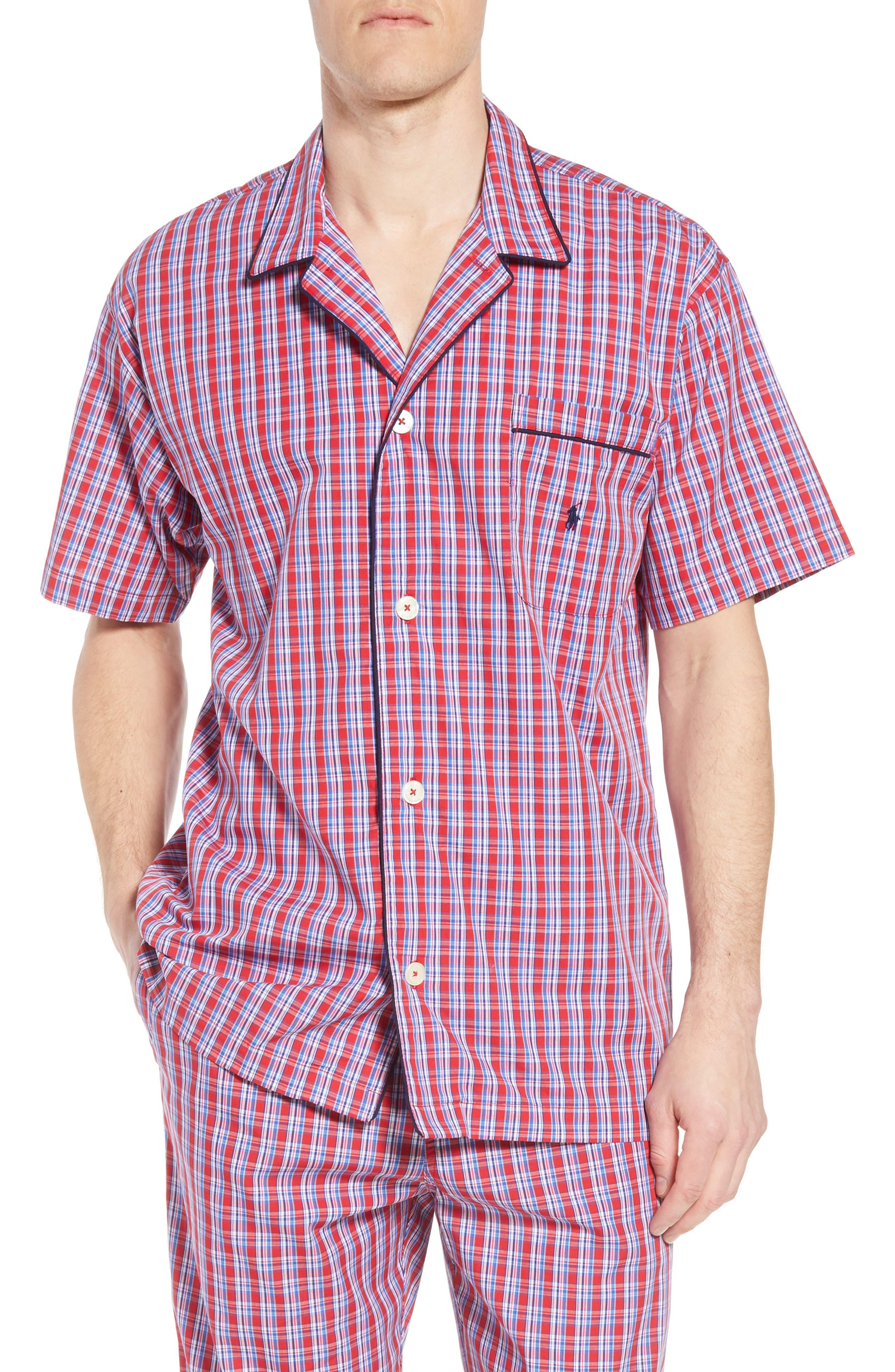 Cotton Pajama Shirt,                             Main thumbnail 1, color,                             NEWPORT PLAID/ NAVY